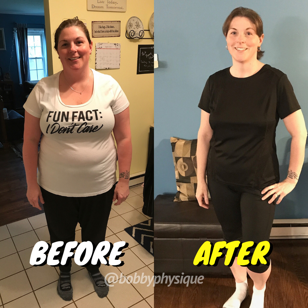 "Betsy - ""It has almost been a full year since I started working with Bobby on my weight loss and fitness journey. My experience with him has been amazing! He has designed each of my workouts to be focused, quality workouts, in short periods of time. He has given me positive nutritional advice and food ideas when my meal planning has gotten boring. I will be turning 45 this year and feel like my fitness and energy level has never been so high. This is the first year in many I am not dreading summer time and shorts!"""