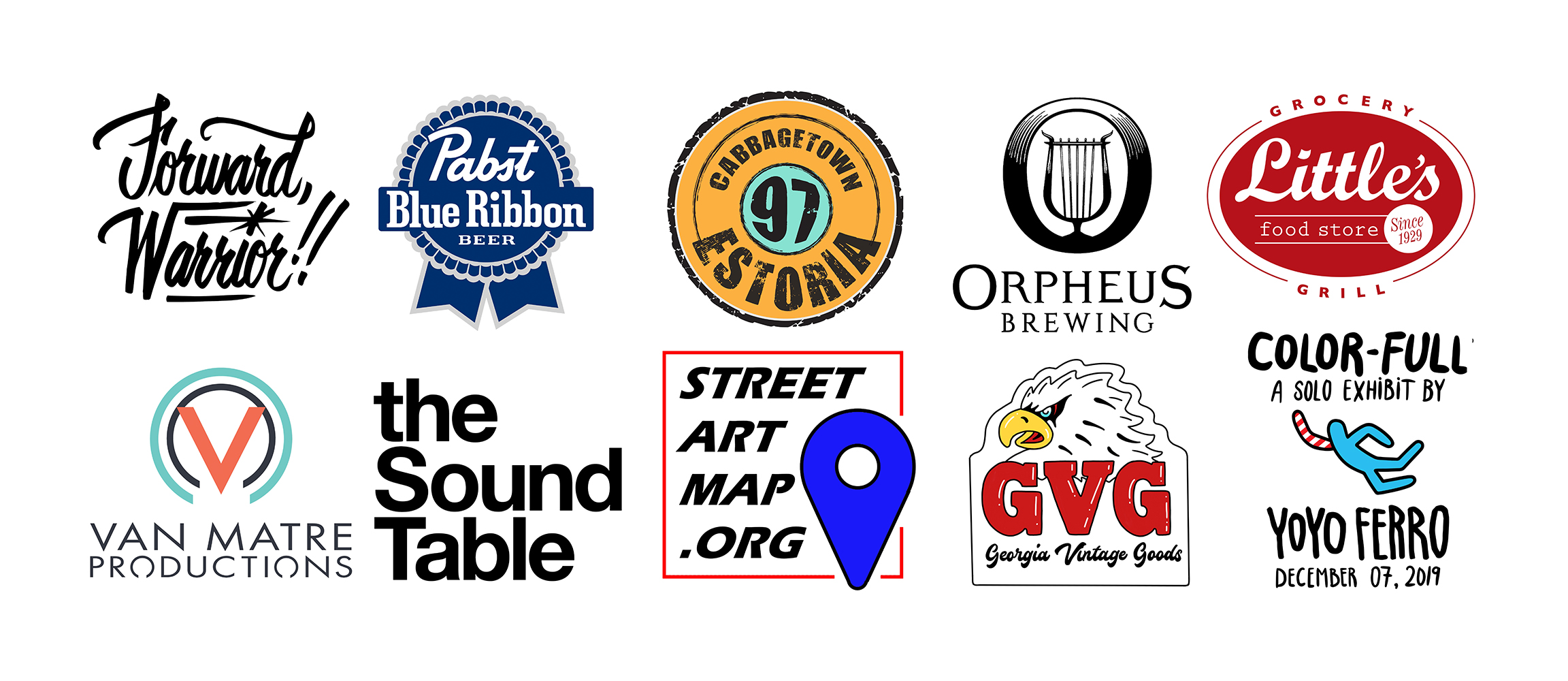 Forward Warrior 2019 Major Sponsors: Pabst Blue Ribbon, 97 Estoria, Orpheus Brewing, Little's Food Store, Van Matre Productions, The Sound Table, Street Art Map dot ORG, Georgia Vintage Goods, and Yoyo Ferro.