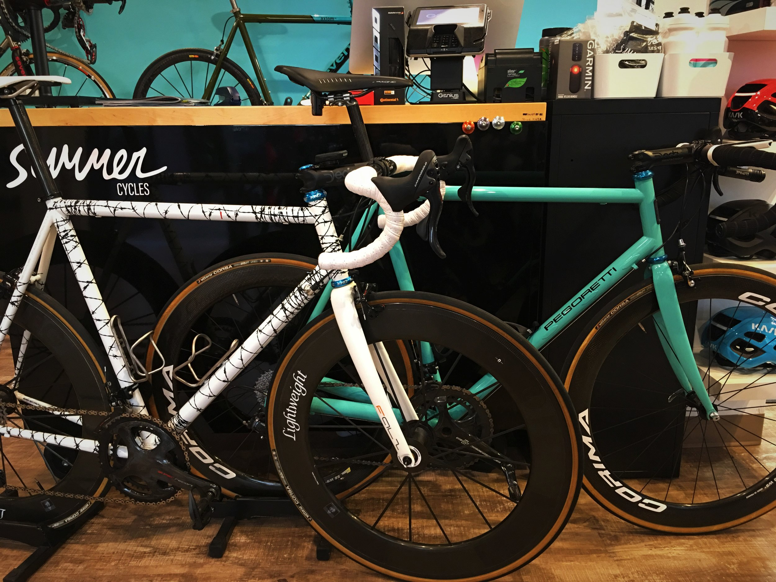 We have a few Pegoretti's at Summer Cycles for you to demo, including the Big Leg Emma, shown here in turquoise and a Duende with the Guantanamo paint scheme.
