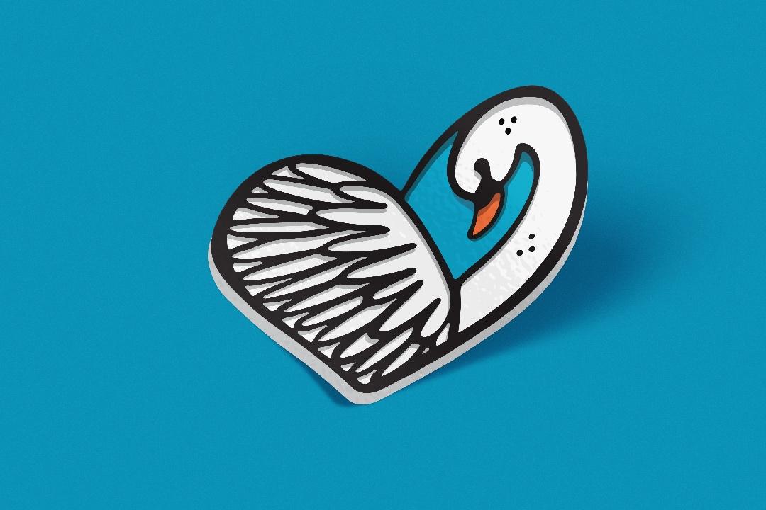 Swan+Heart+Sticker