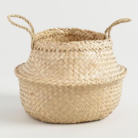 Natural Seagrass Floppy Tote Basket - World Market