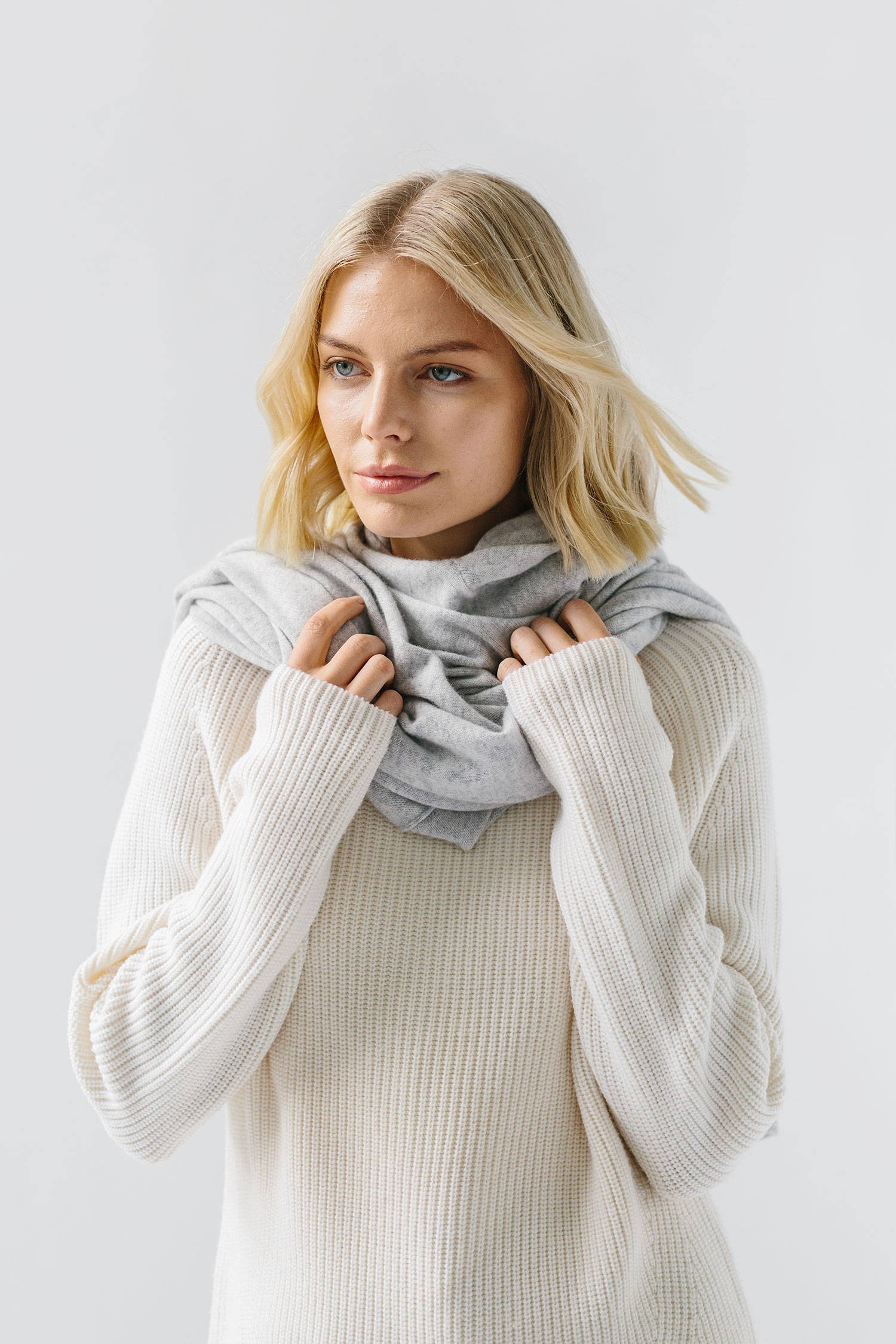 woman wearing cashmere scarf