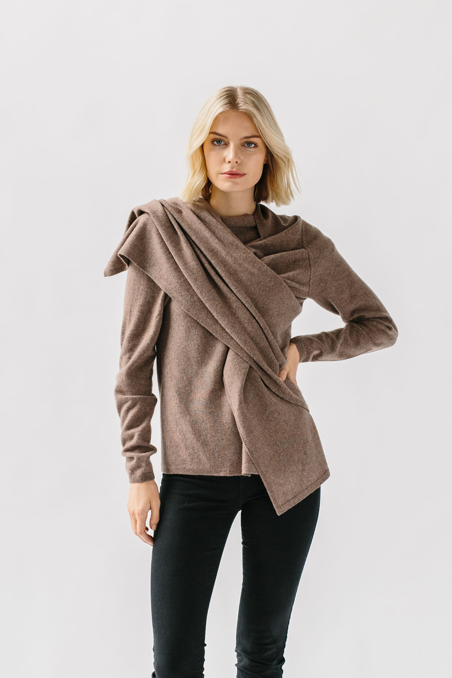 woman wearing cashmere wrap