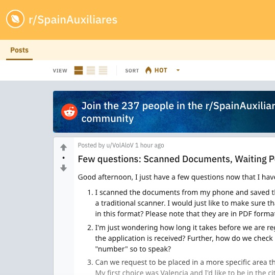 Subreddit: Auxiliares de Conversación (Spain Auxiliares)