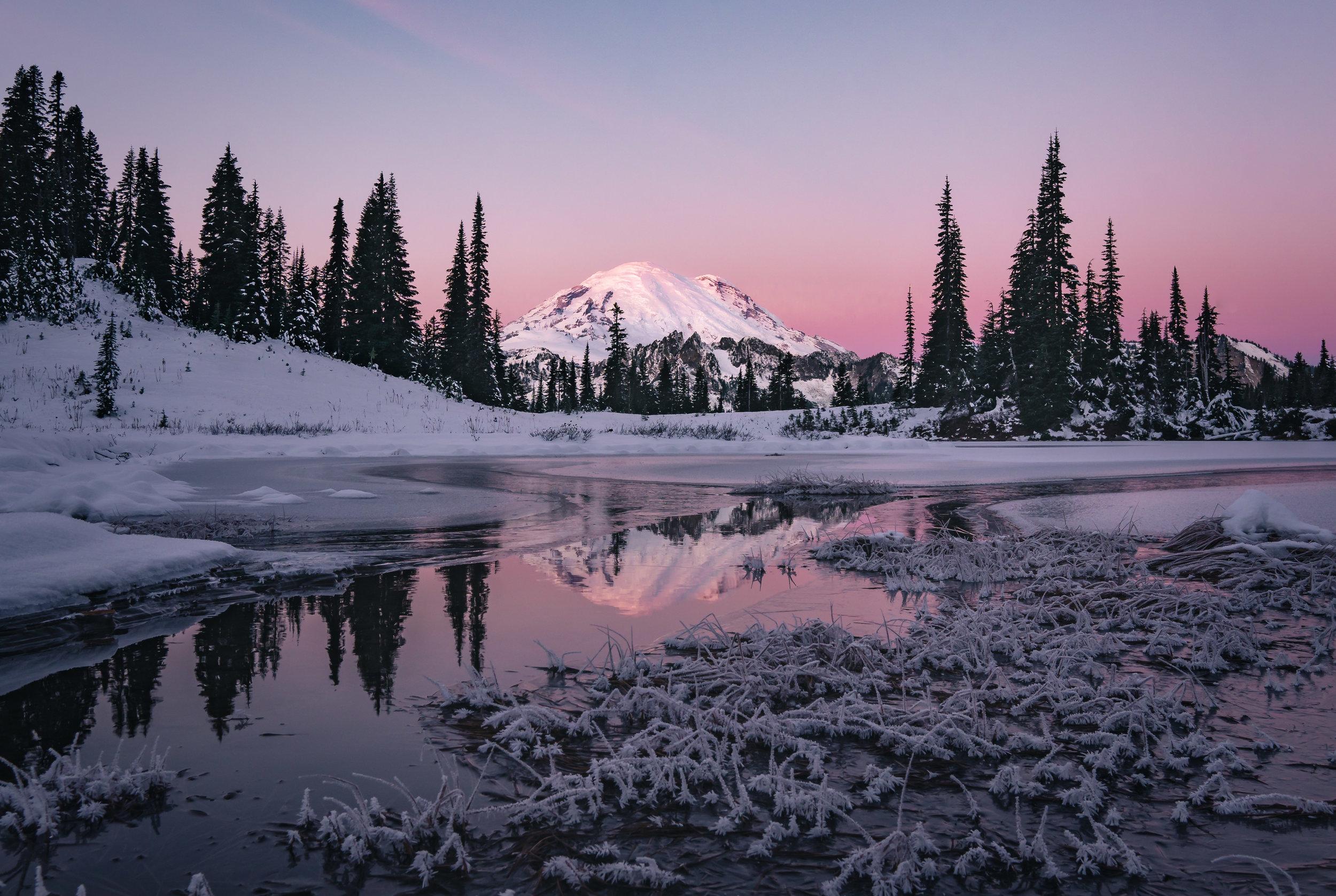 Winter sunrise glow on Mount Rainier