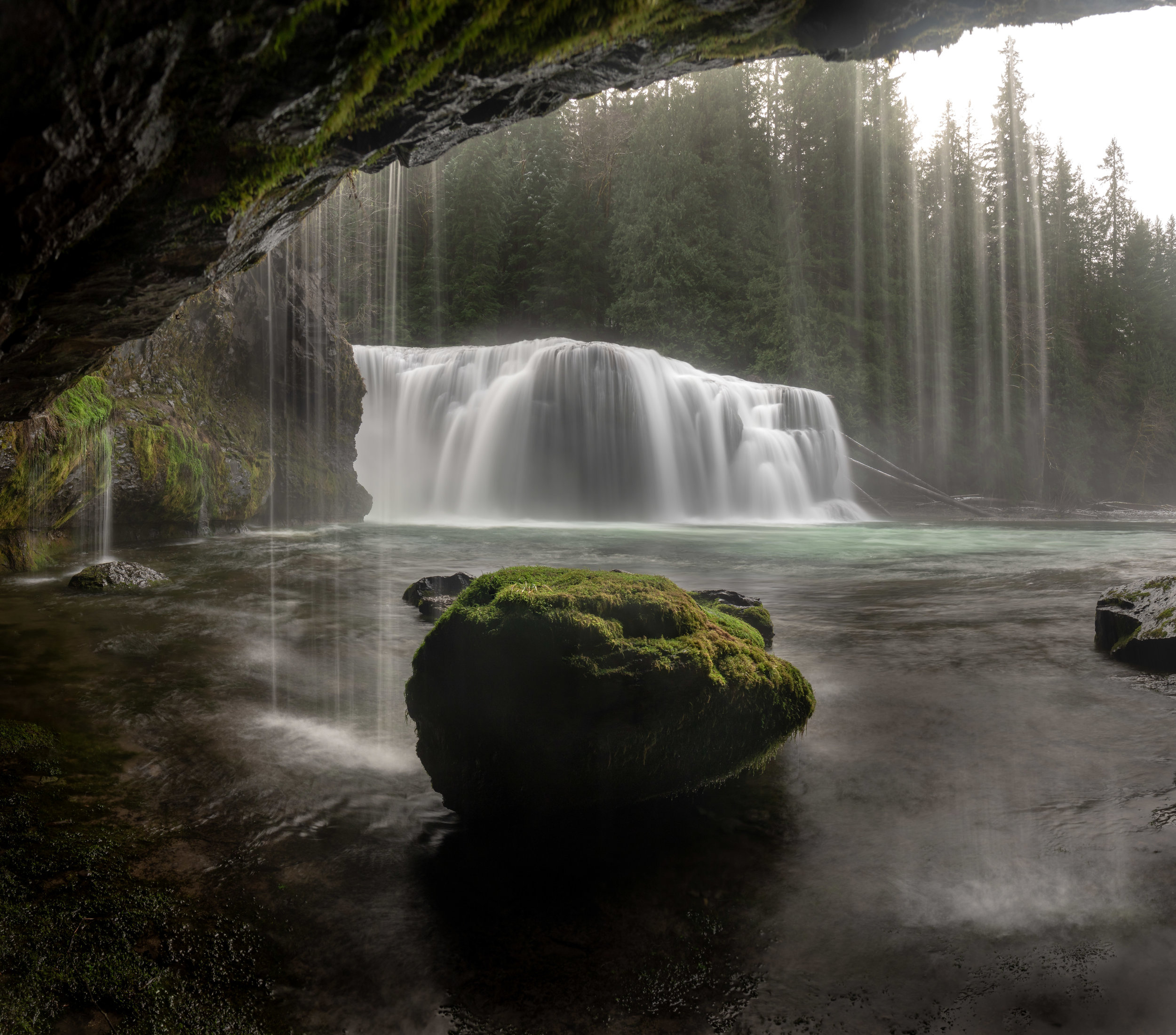evening spring time scene at Lower Lewis River Falls — Gifford Pinchot National Forest