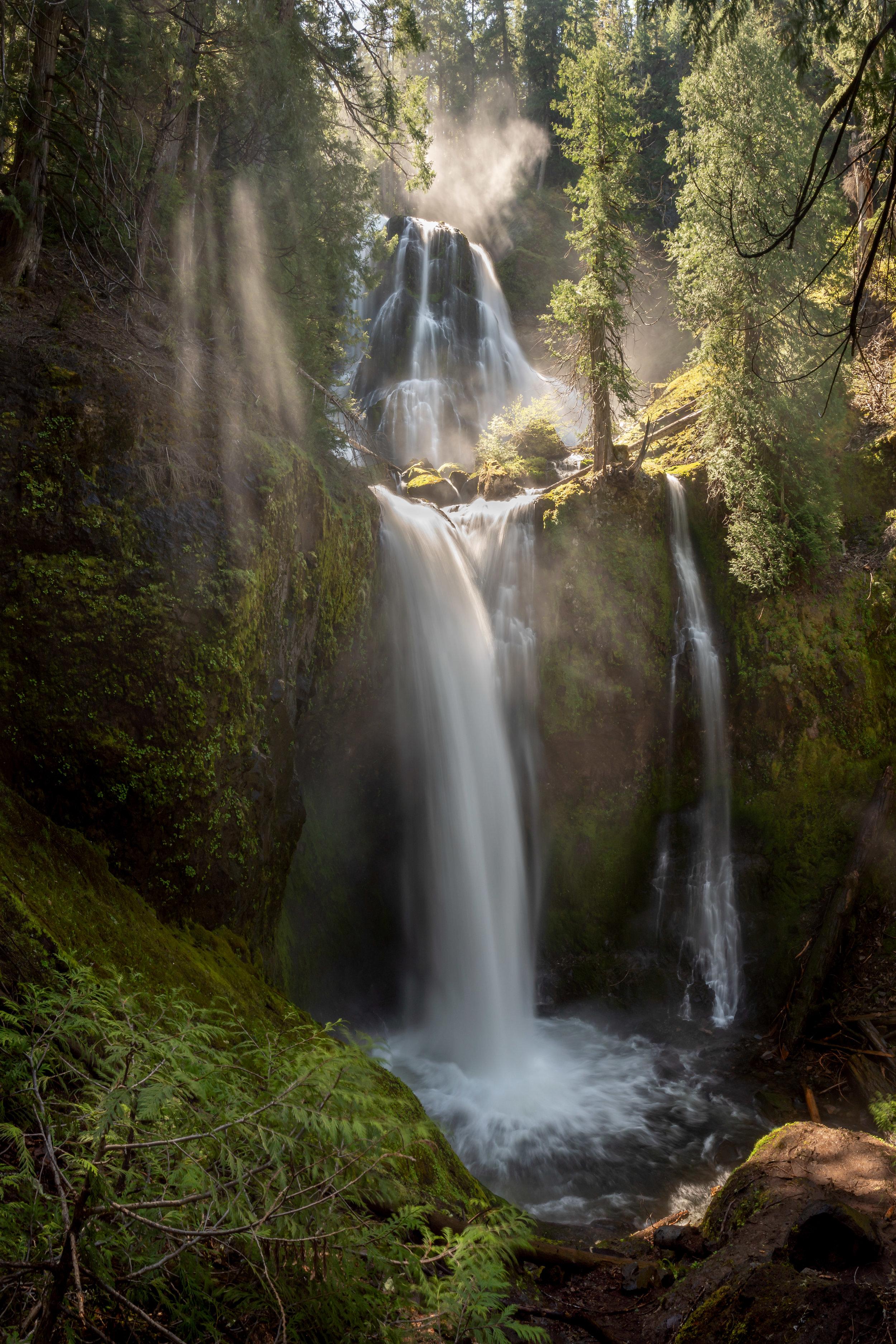 light rays at Falls Creek Falls - Gifford Pinchot National Forest
