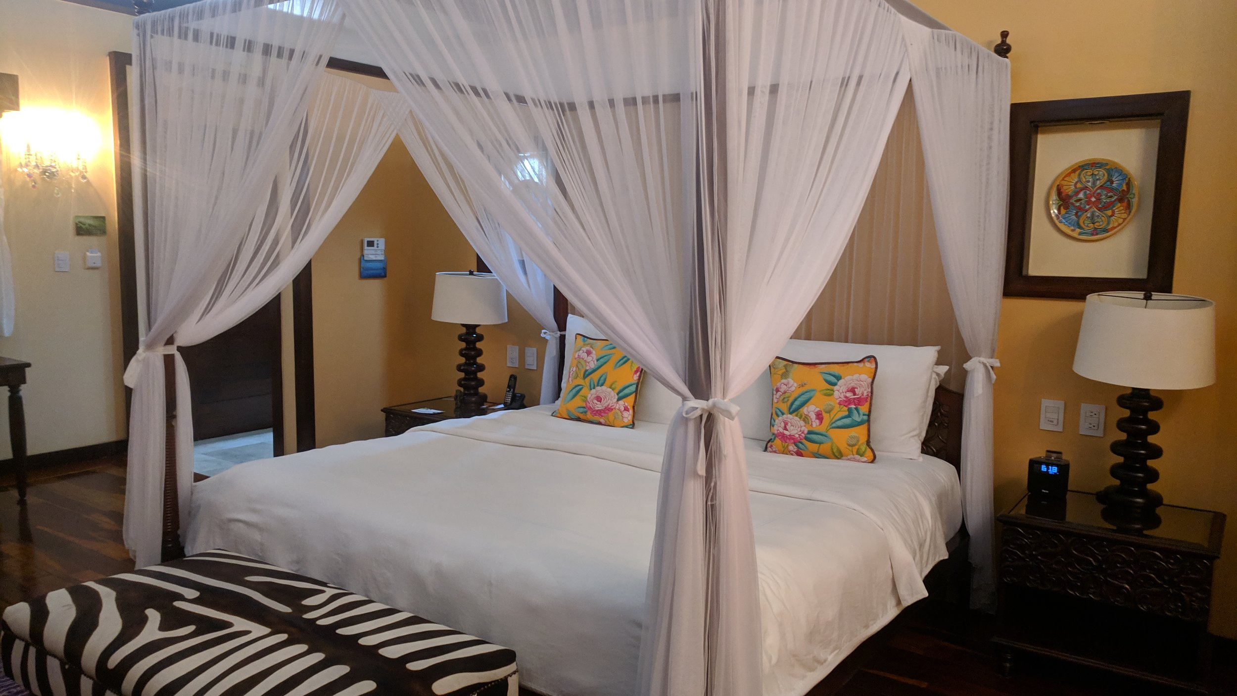 We had a full canopy bed which was also really comfortable.