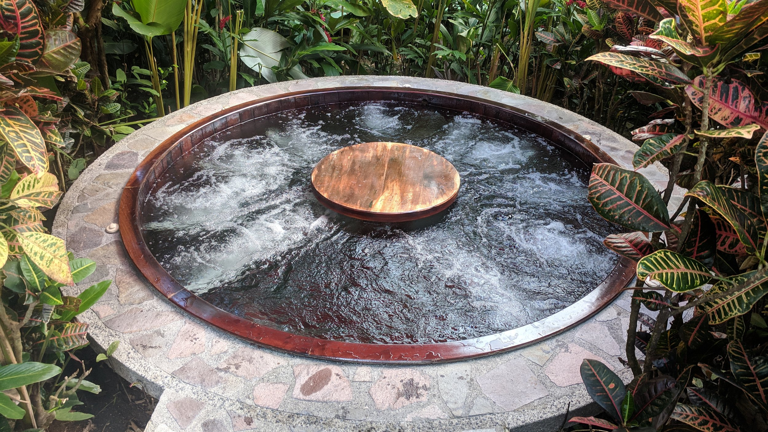 There were also several small outdoor hot tubs nearby.
