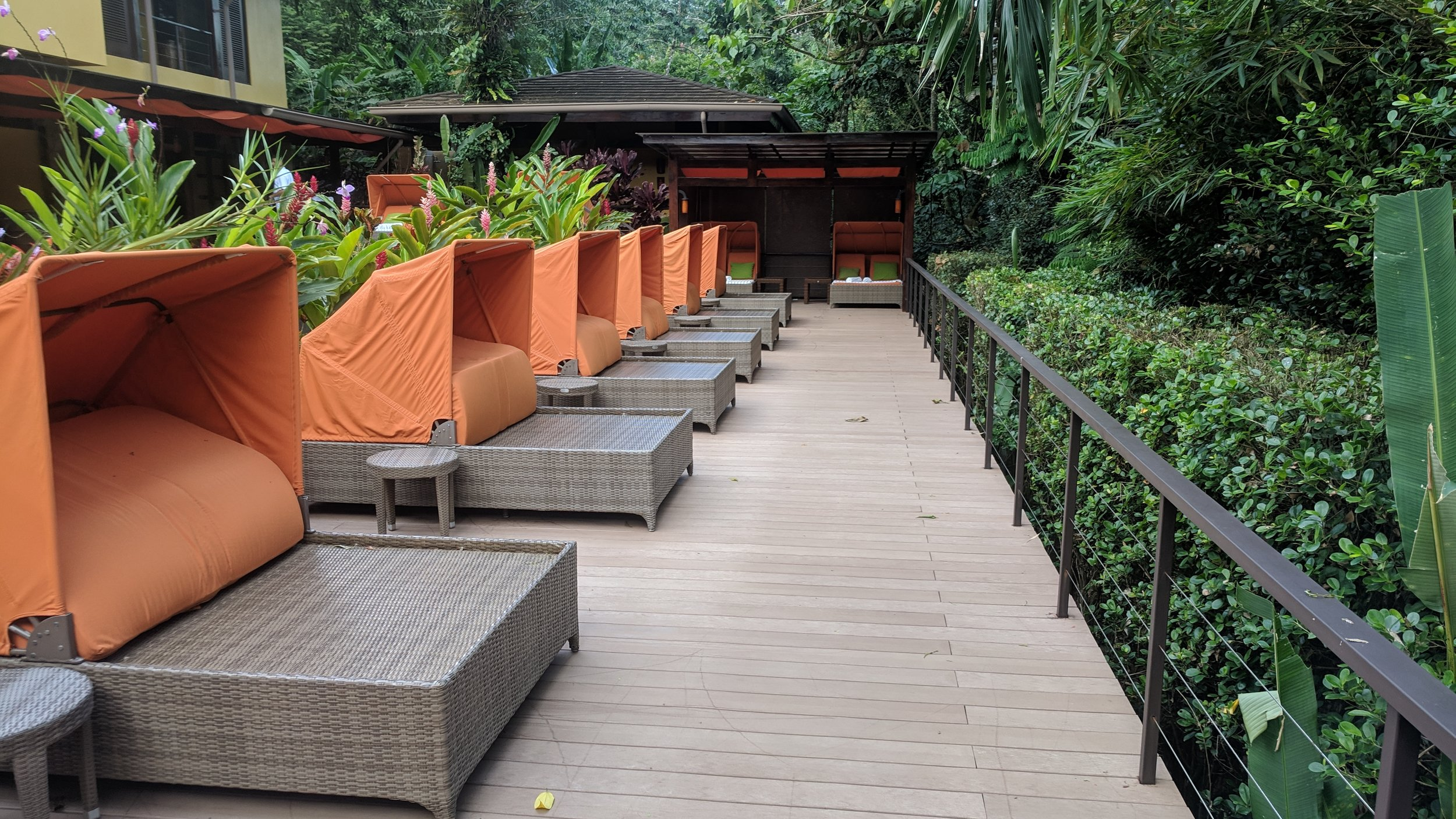 With plenty of space to lounge or read by the pool (which is just behind these in the photo).