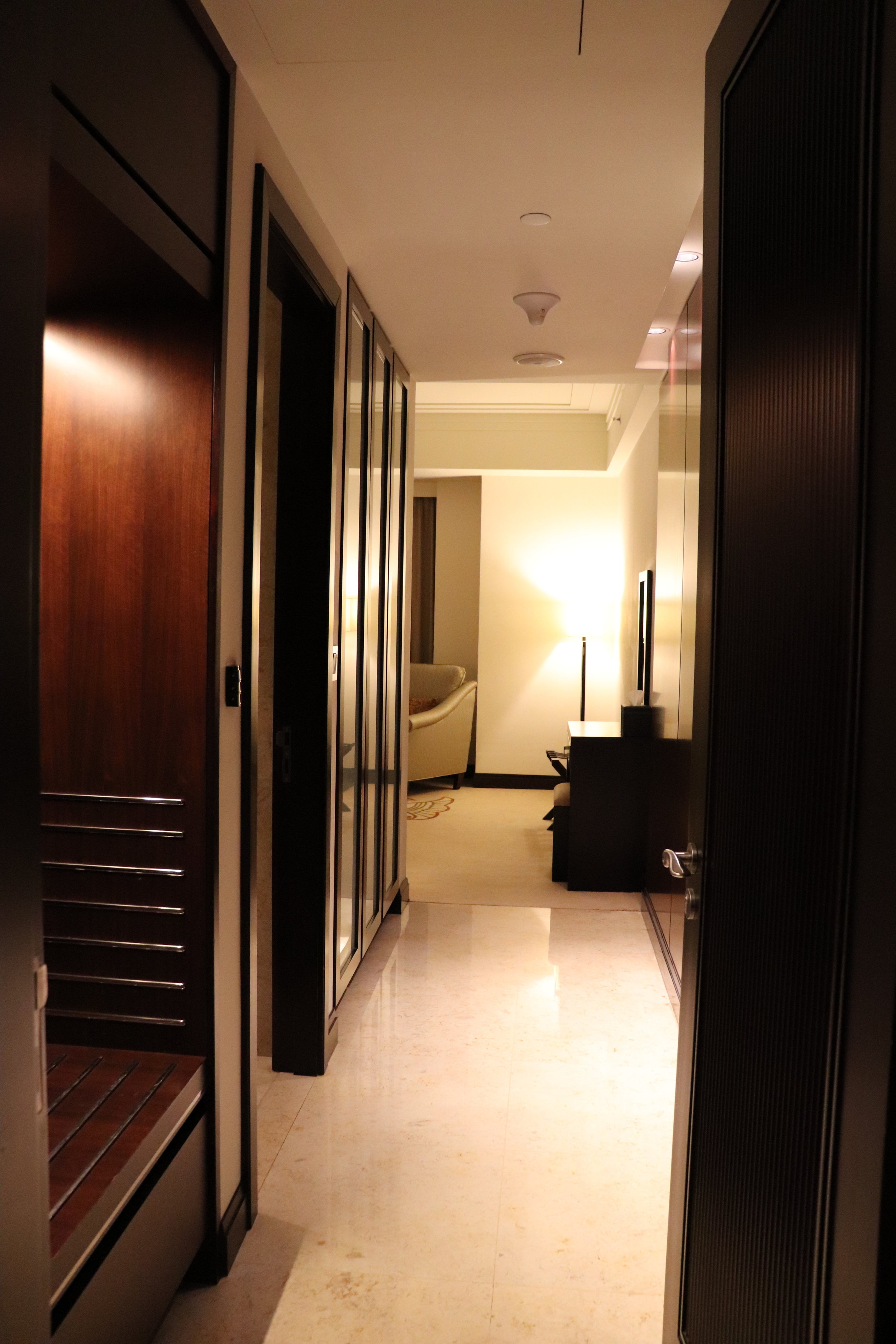 - About half way down the first hall way on the right a door opens to this hallway to the master bathroom and bedroom. There is plenty of closet and storage on the left. The first door on the left is the master bathroom. At the end of the hall is the bedroom.