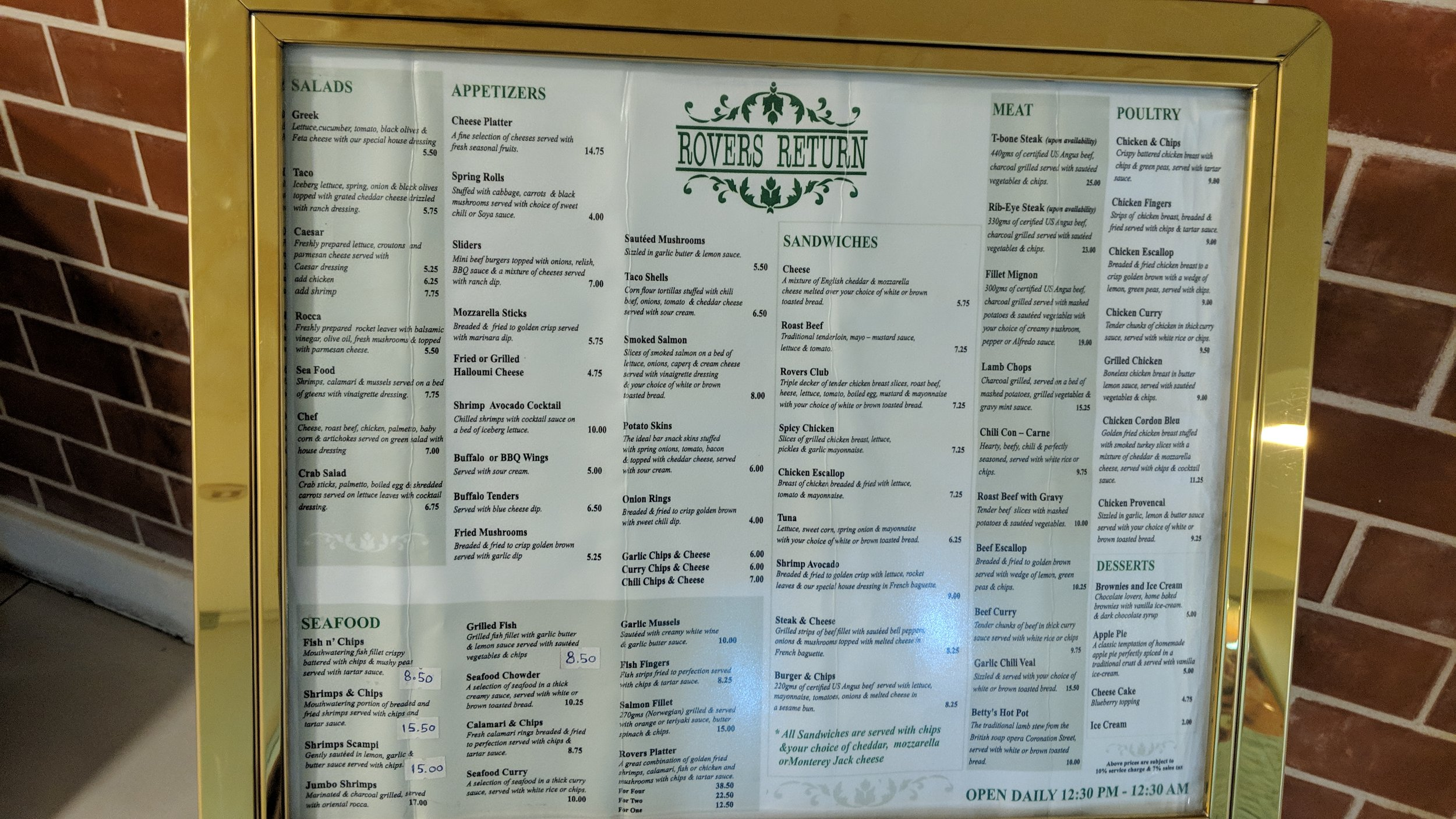 Rovers Return Menu