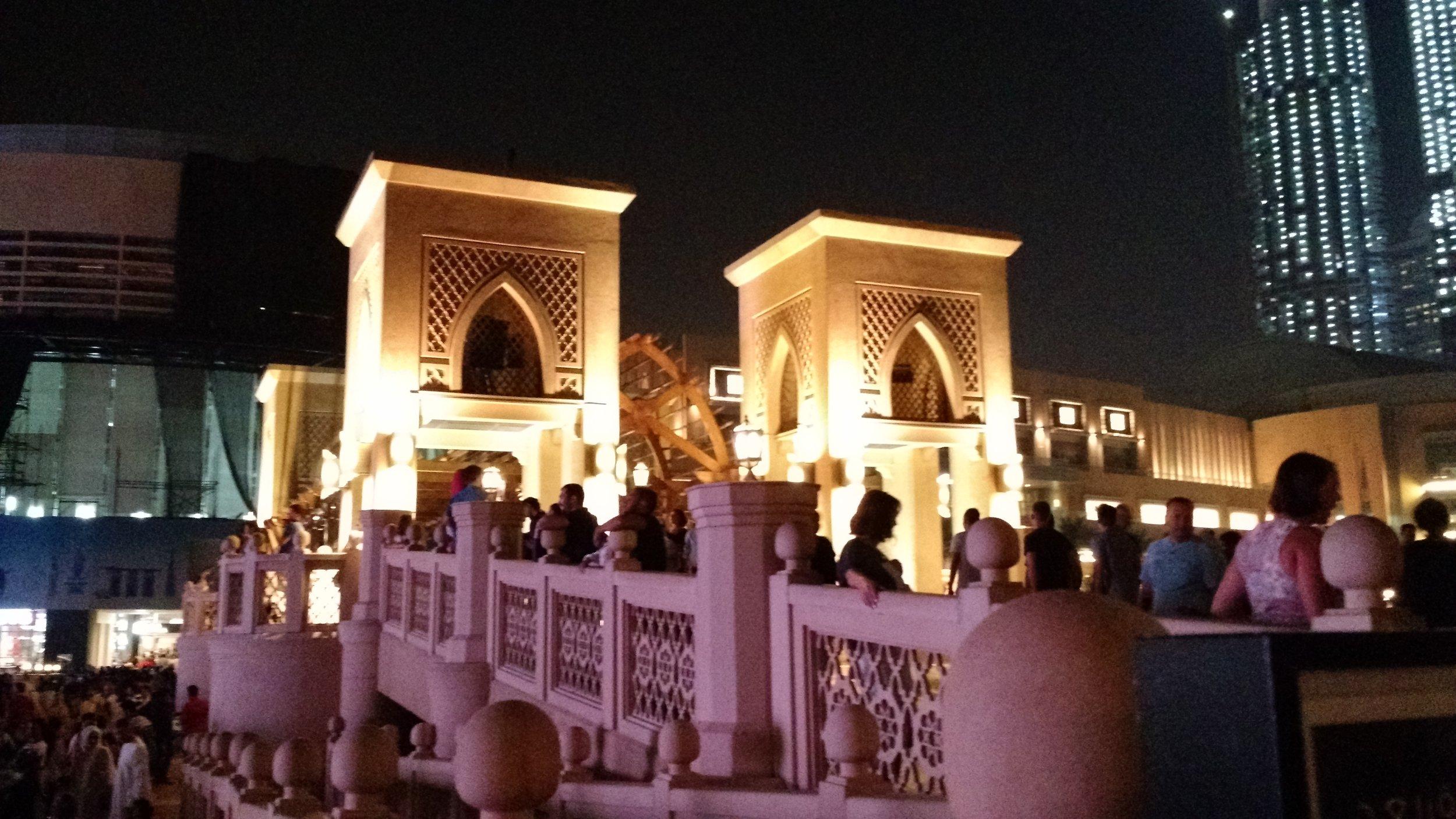 Souk Al Bahar Bridge looking towards the Dubai Mall.
