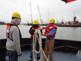 Future seamen are shown the ropes