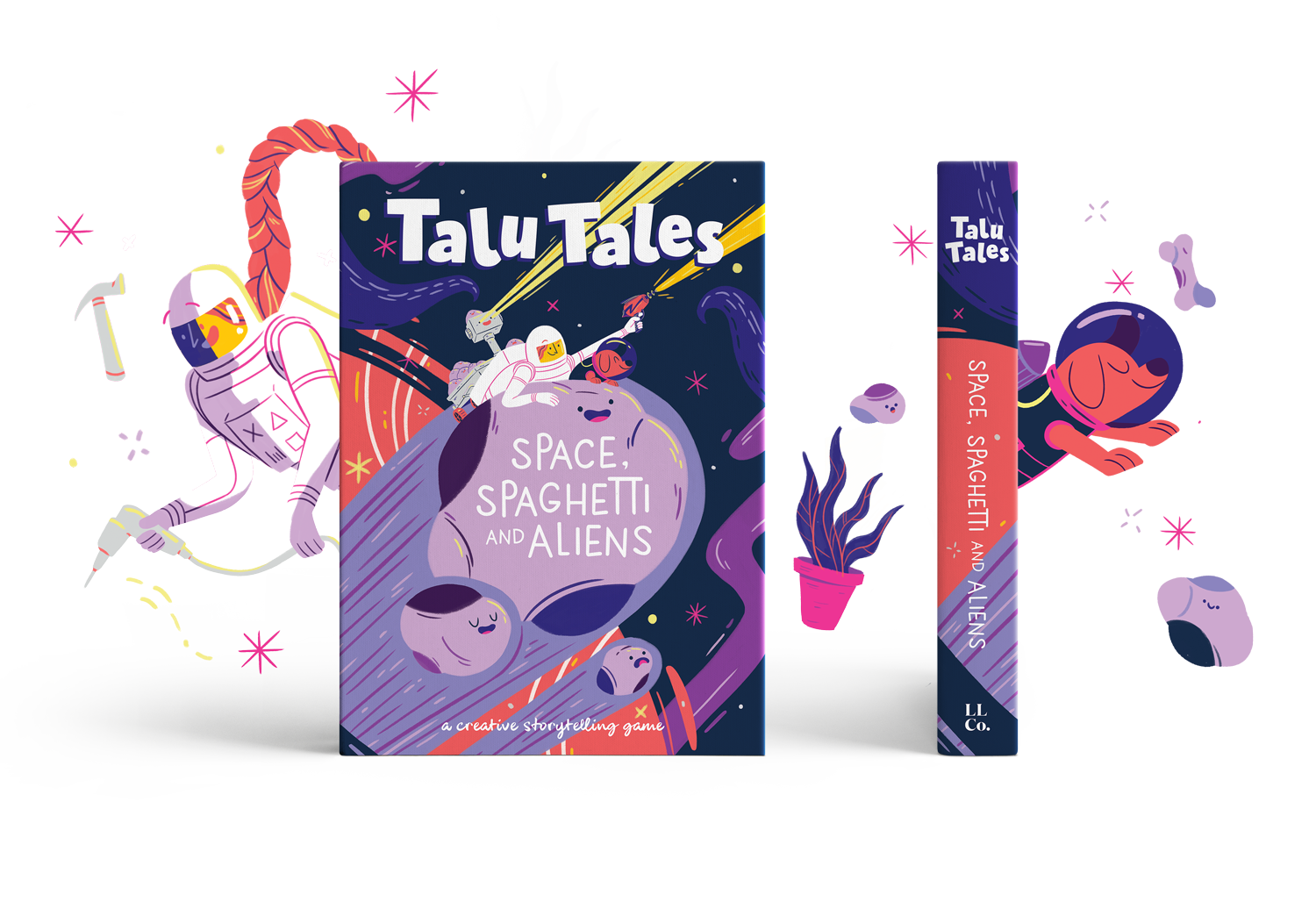 - Calling all Space lovers!This intergalactic themed story pack, Space, Spaghetti and Aliens is overflowing with cheeky aliens, exploding stars, werewolves, space whales, cheese moons, hungry black holes, singing meteors and Theo. The slobbery space dog.