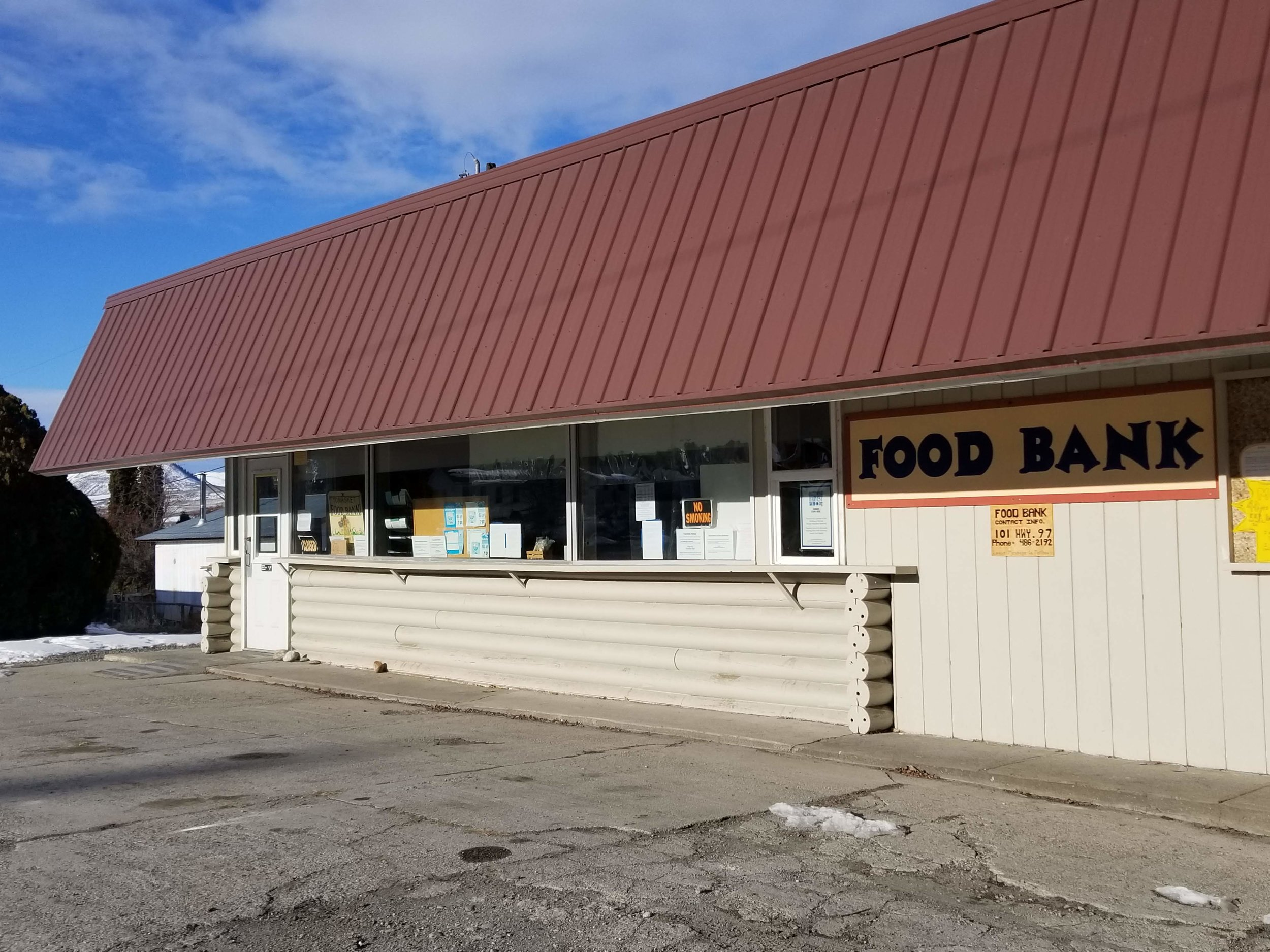 Food Bank - The Tonasket Food Bank is open every Thursday from 9-11. Located at 101 Hwy 97. All are welcome. 509-486-2192
