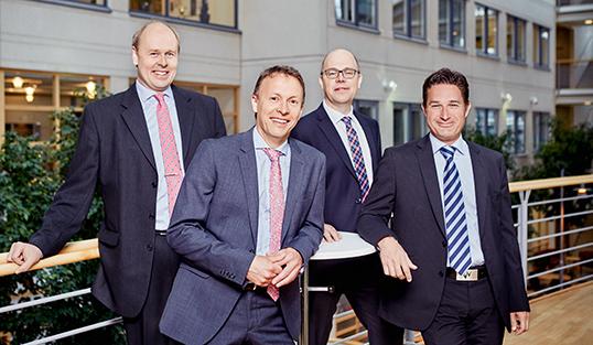 Från vänster till höger: Fredrik Hansson, CTO, Jan Andreasson, Projektchef, Fredrik Bergström, VD och Hans Böttrich Försäljningschef.