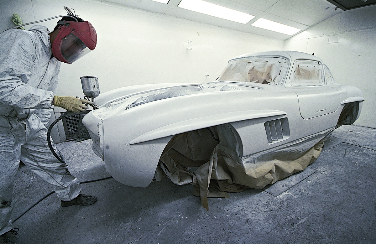 Painting was the easy bit. Preparing the Gullwing's complex body surfaces was far more labour-intensive