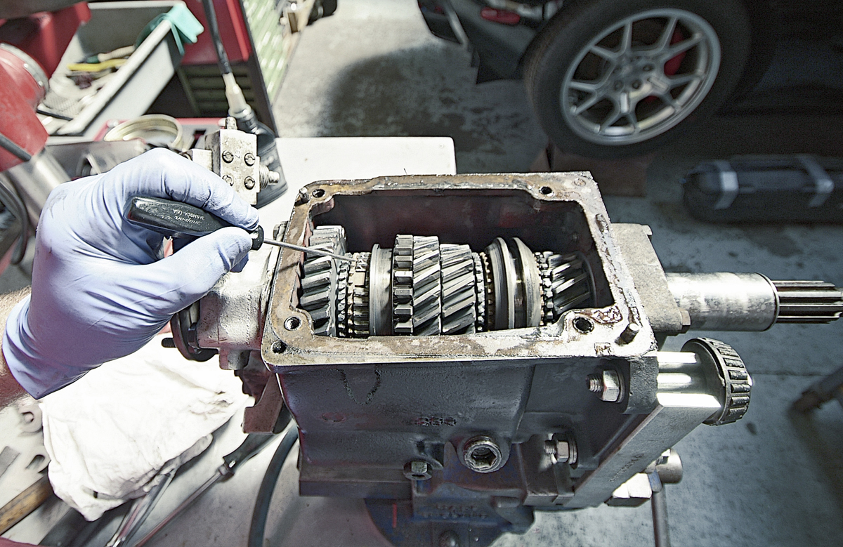 Gearbox fresh from the car before being rebuilt using gear clusters from the Roadster, giving taller ratios for more relaxed cruising