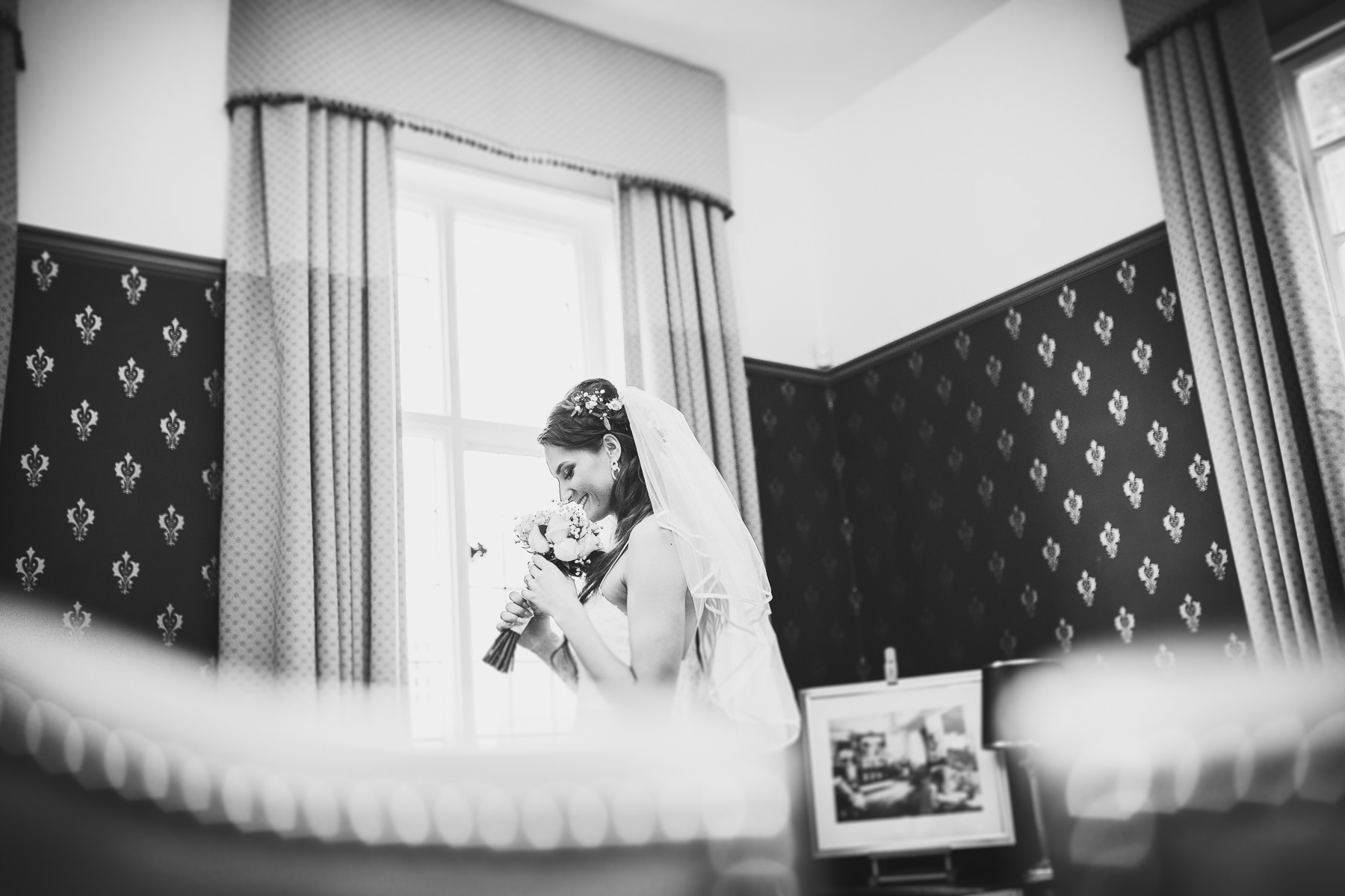 Bride before the wedding ceremony in Chichester