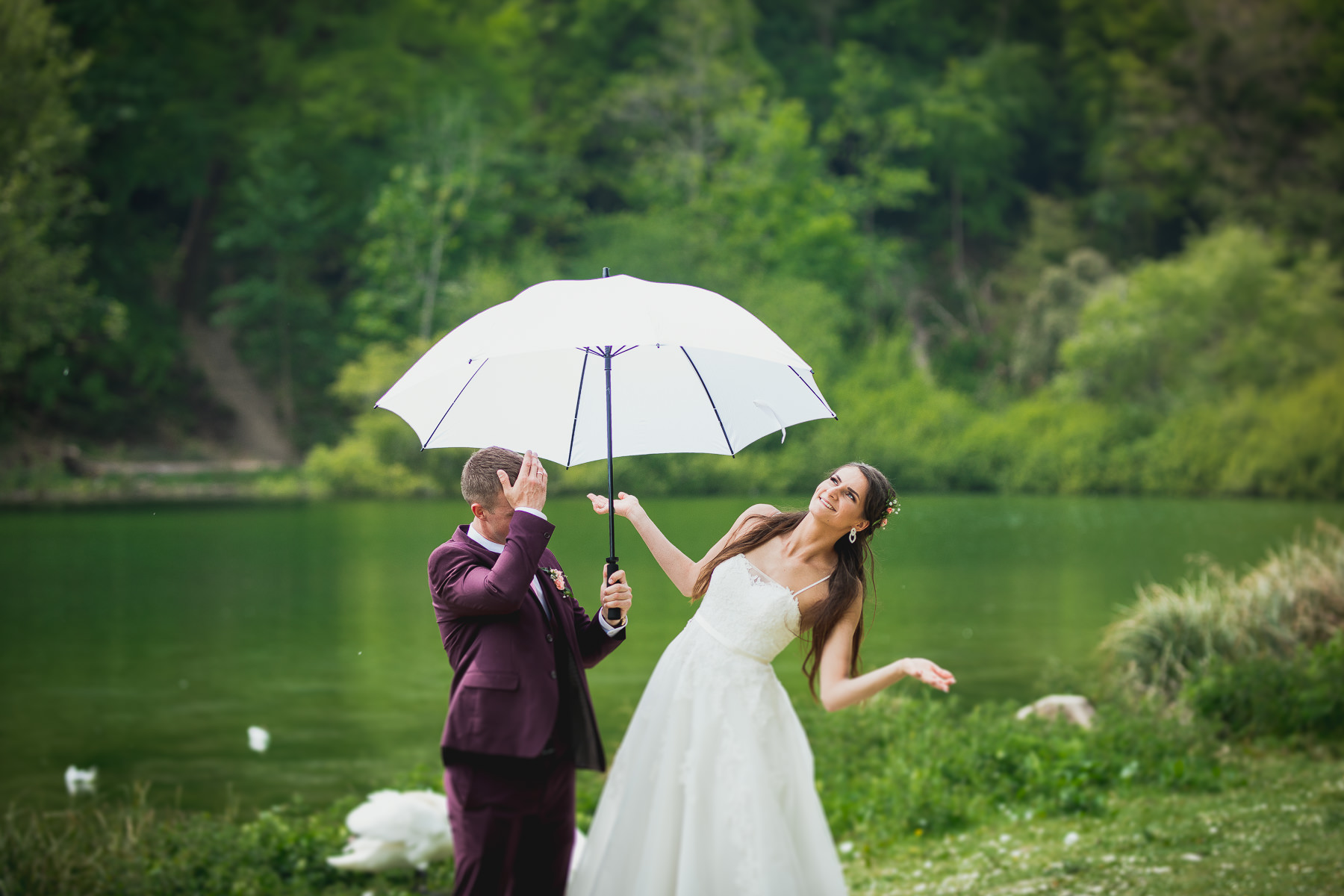 Bride and Groom Funny Posing near the pond