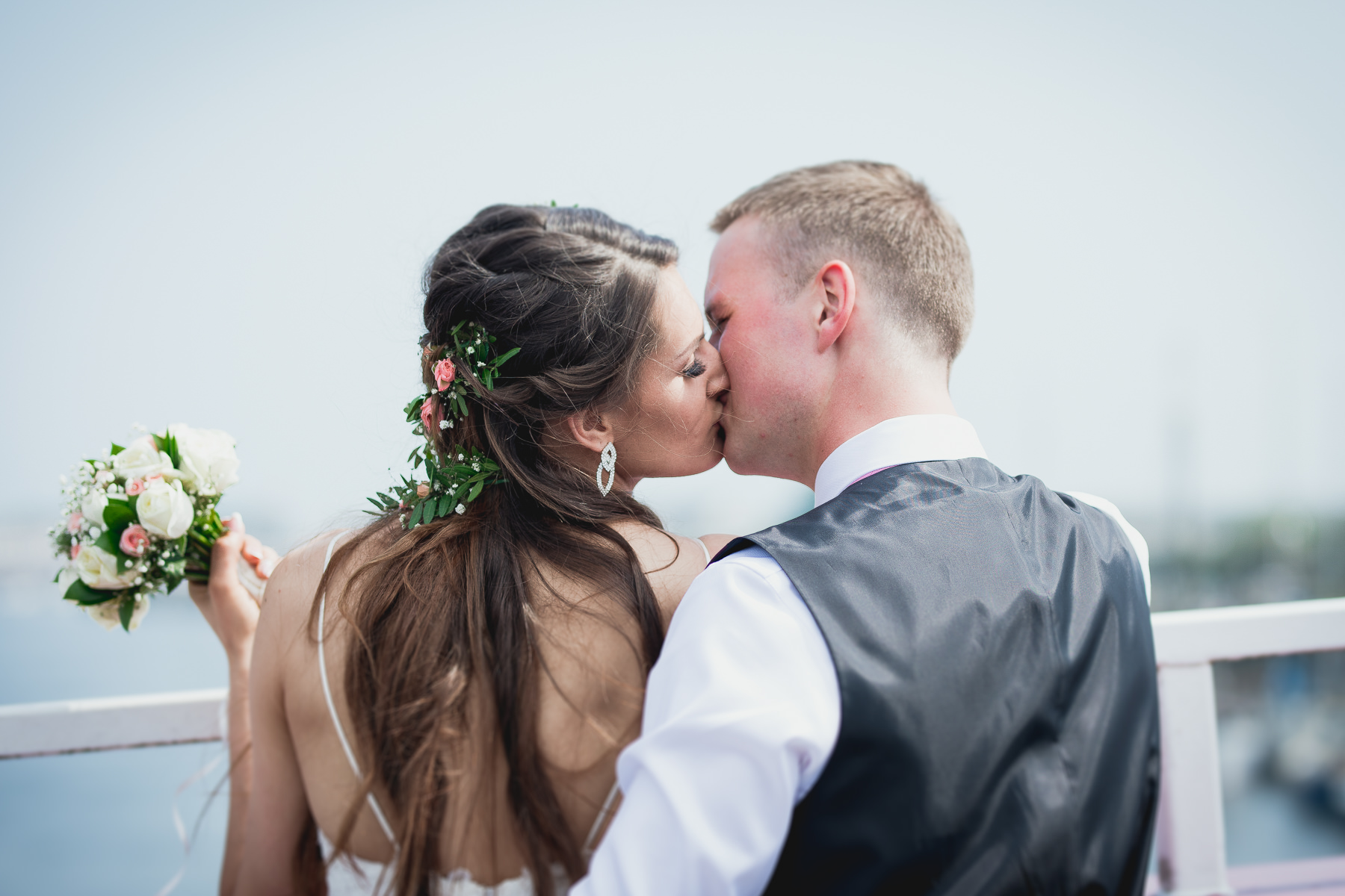 Bride and Groom Kiss in Chichester