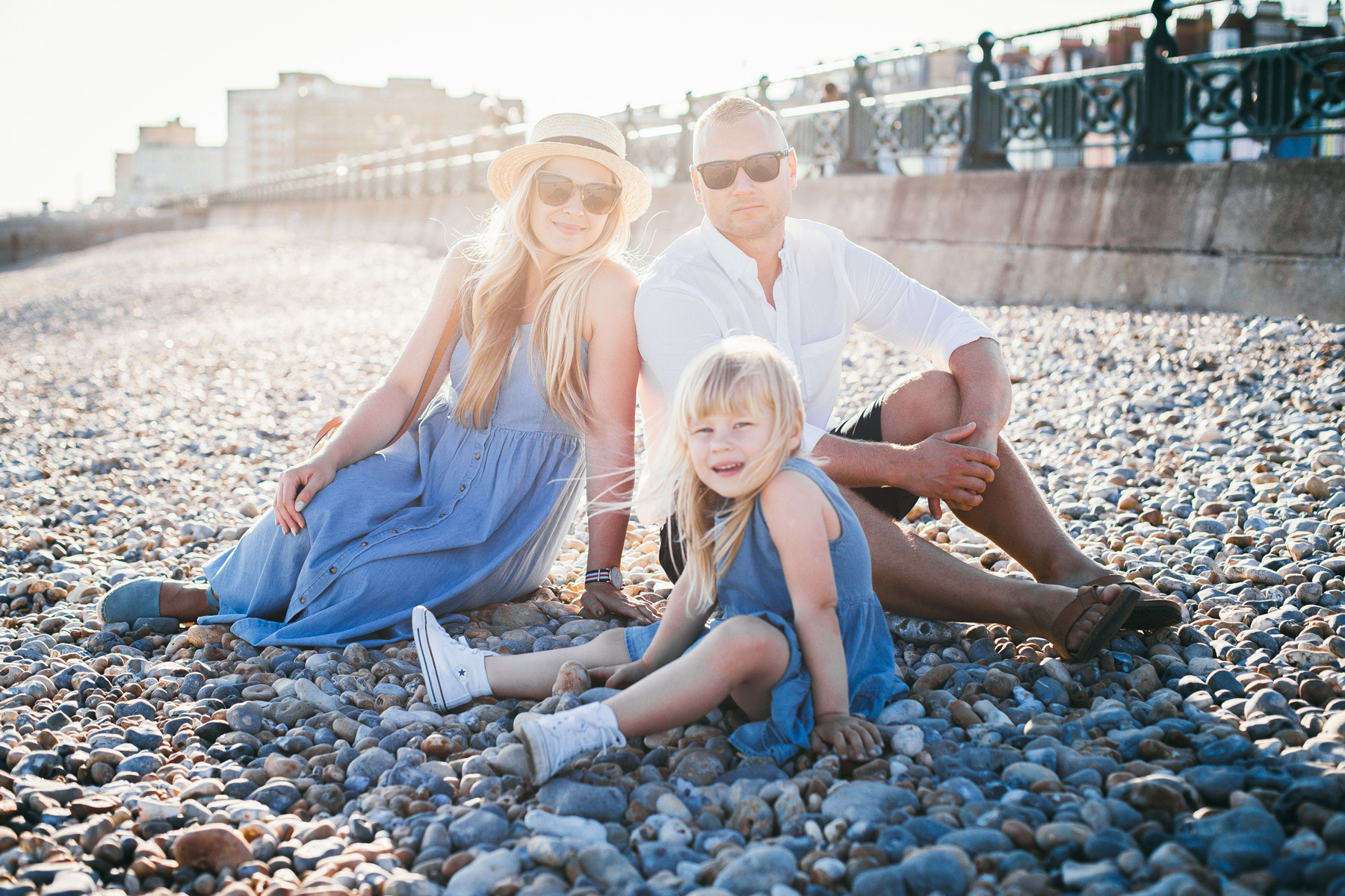 Whole family portrait on Brighton Beach