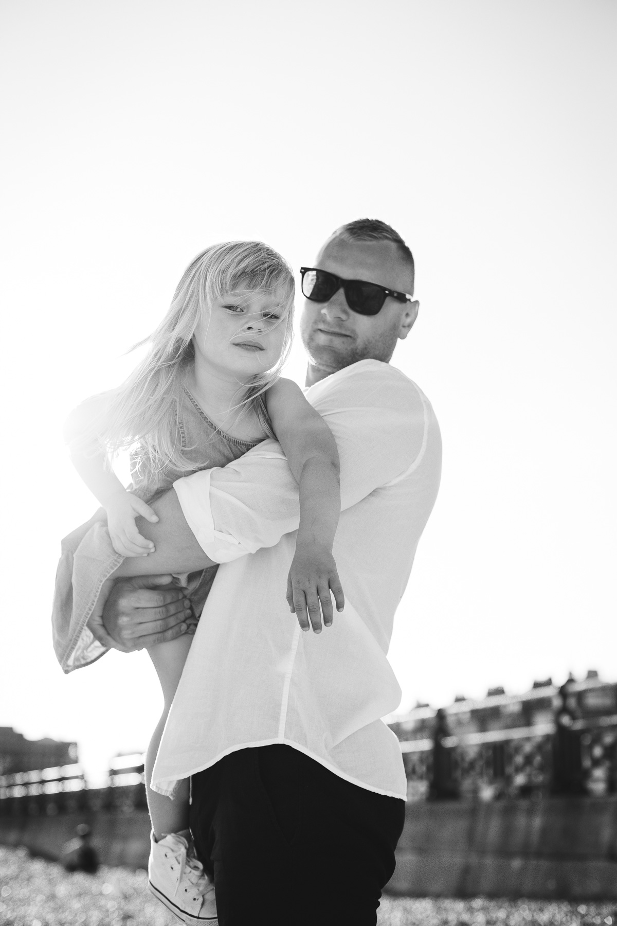 Father and Daughter Black and White Photography