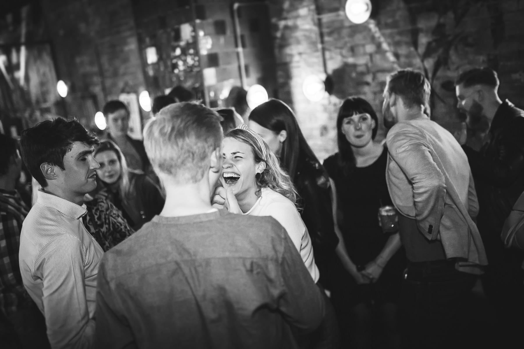 Laughing Girl Black and White Event Photography Ieva Vilcinskaite