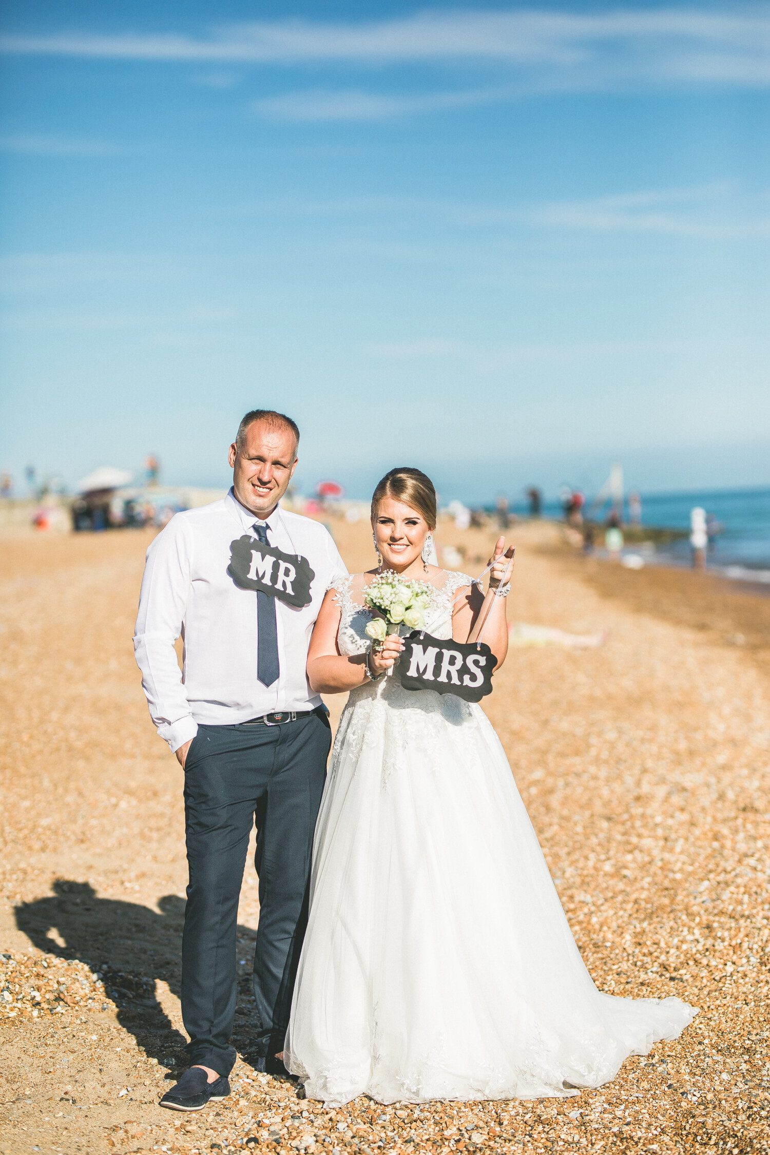 Mr and Mrs Beach Wedding Portrait Photography in Hastings East Sussex