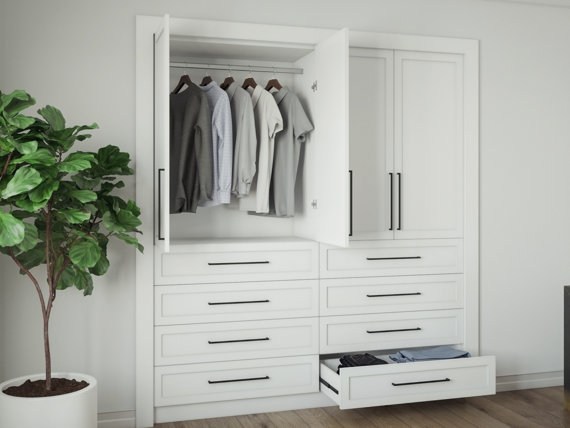 Custom Closet Designfor New Homes - Integrate luxury closets into your residential interior design. Our team is experienced in the design and installation of modern customized closets for new home construction and remodeling.