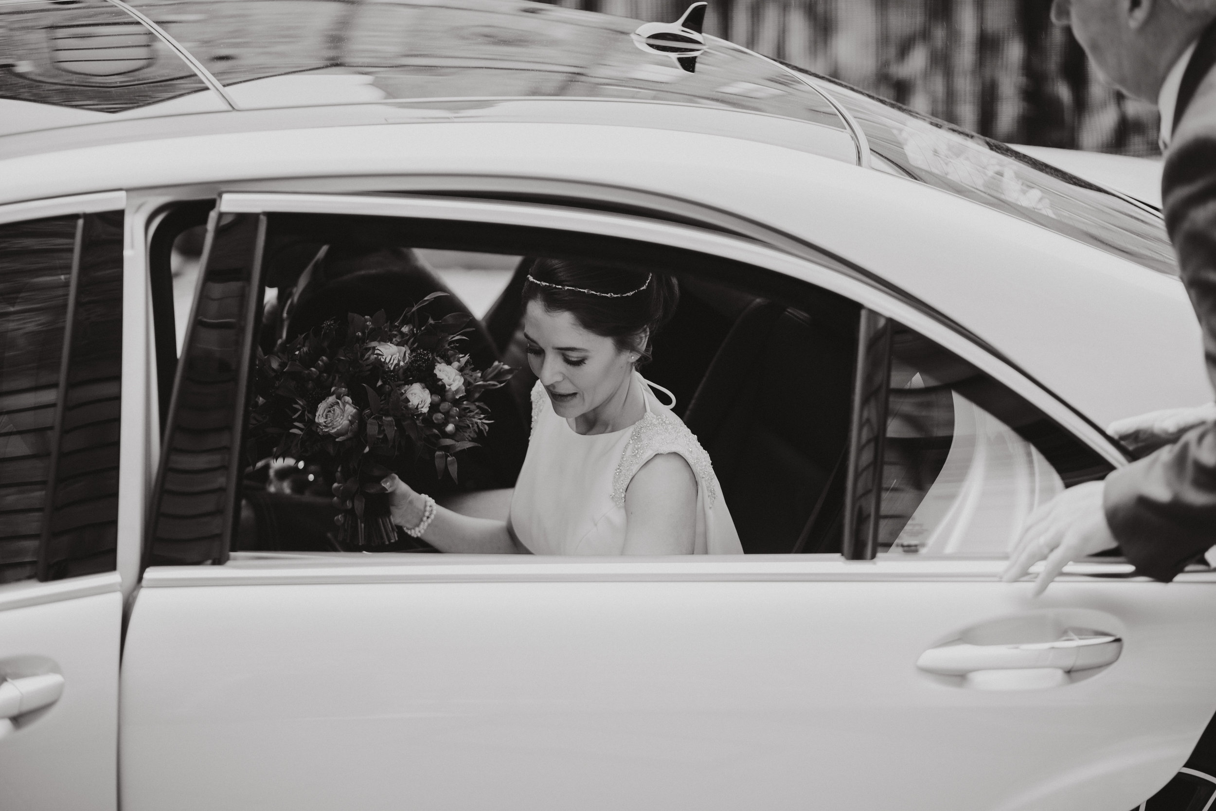 Bride Arriving, Leaving Wedding Car