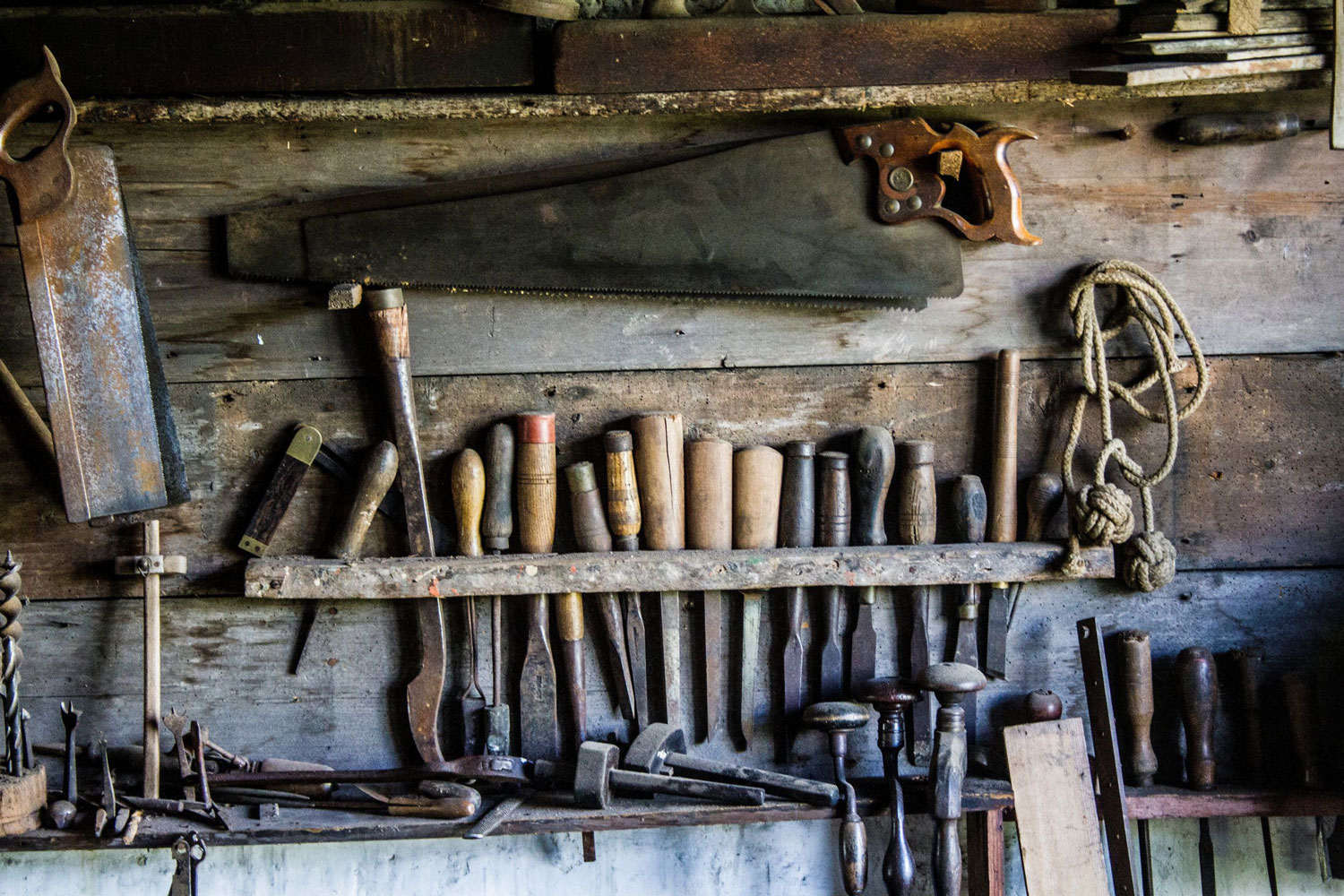 An assortment of well used tools