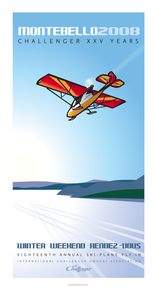 2005 poster for the winter weekend rendezvous ski plane fly-in held annually at the fairmont chateau montebello.