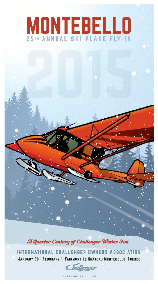 2015 poster for the winter weekend rendezvous ski plane fly-in held annually at the fairmont chateau montebello.