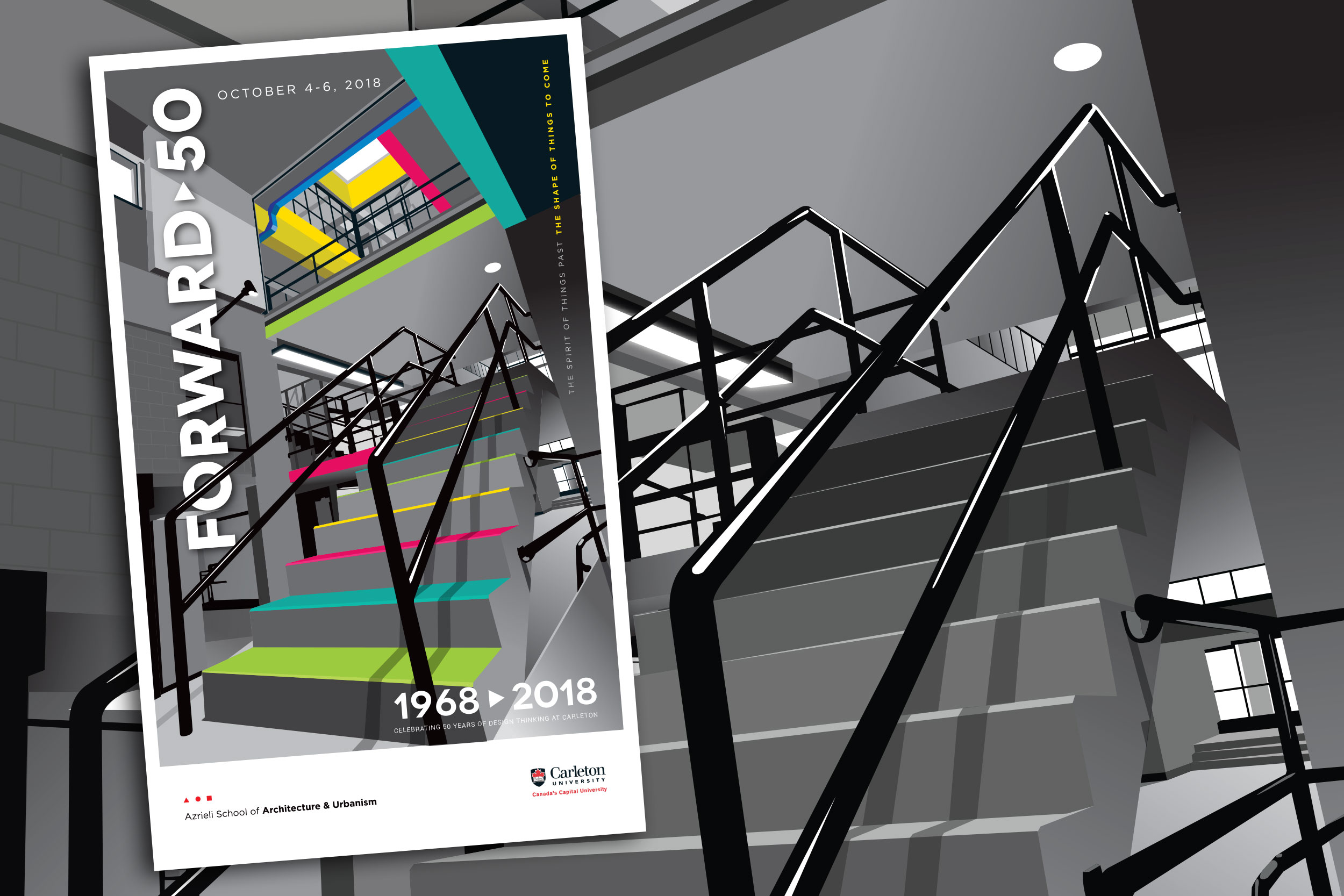 A scalable vector illustration of the staircase was created and overlaid with a vibrant palette to evoke the ascent to the upper creative spaces. This would become the central theme of the event vernacular.