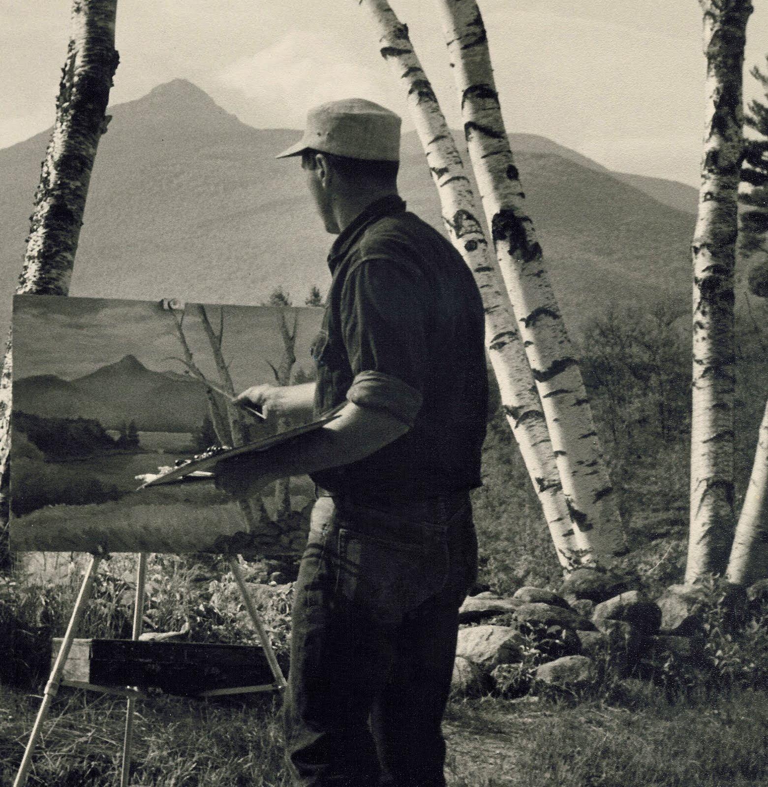 Dick Packer painting at the Basin View Lot, 1950