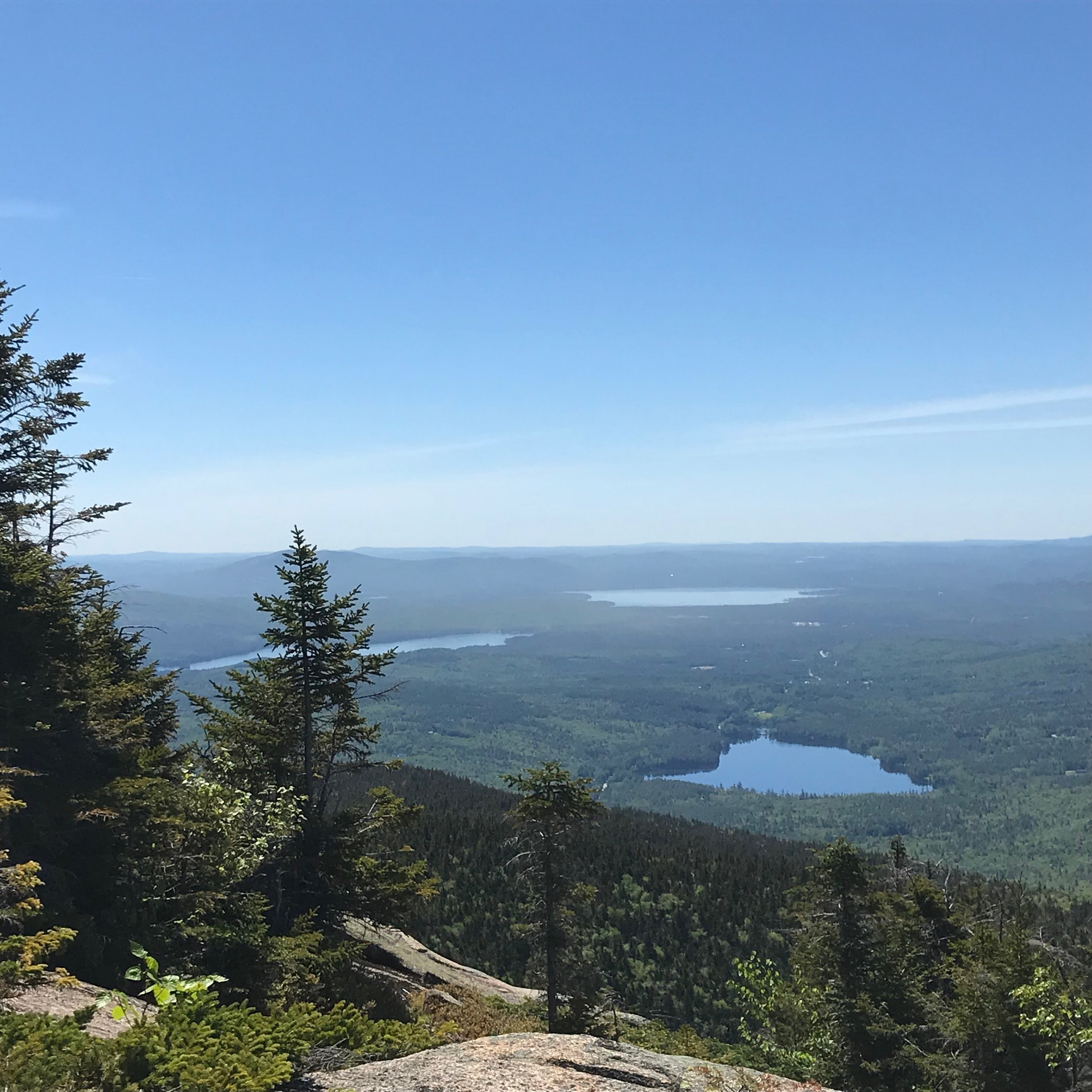 Chocorua Lake, with its wooded shores, and the lake basin from above, with Silver and Ossipee Lakes in the distance. Photo: Juno Lamb