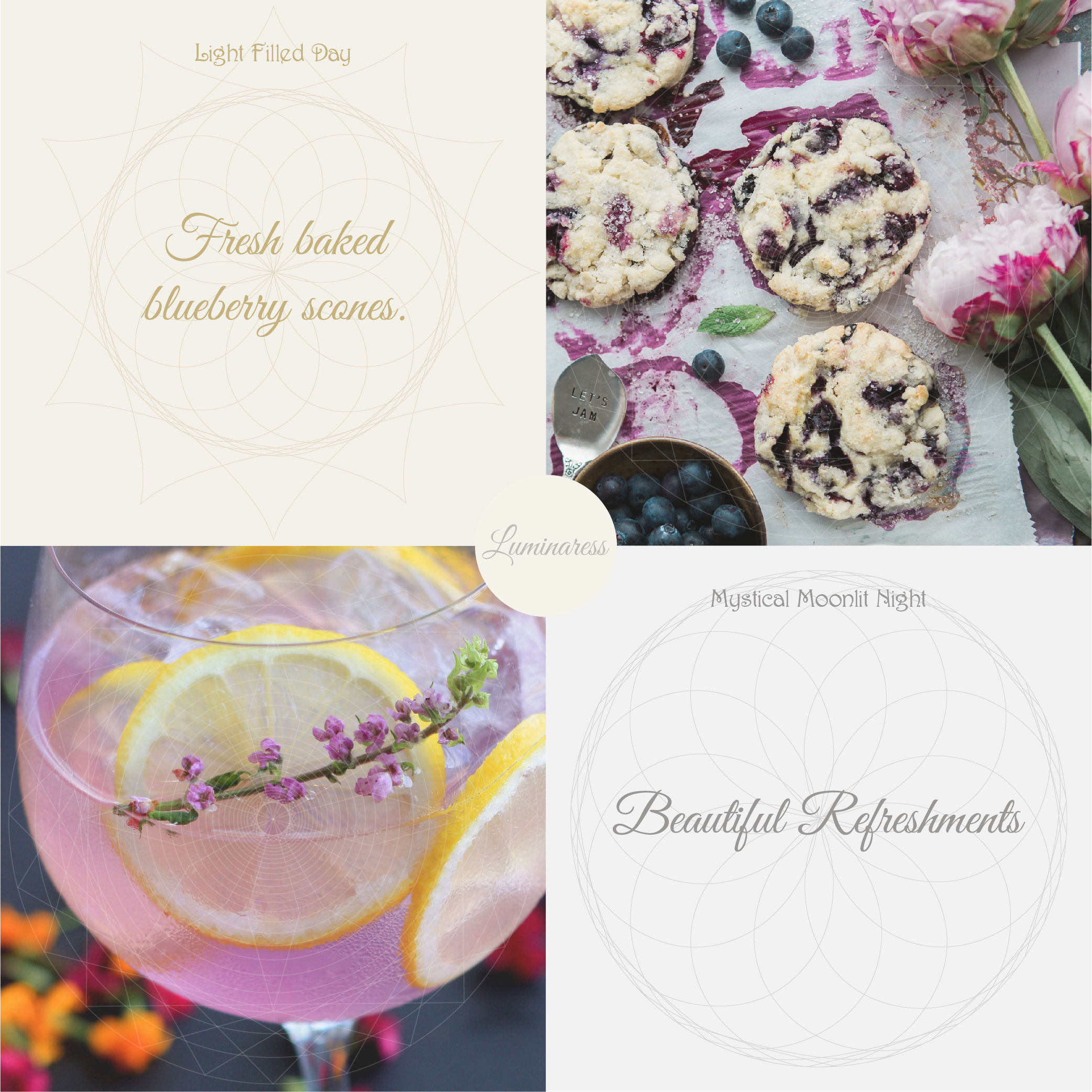 Light Filled Day :  Fresh baked blueberry scones.   Mystical Moonlit Night:   Beautiful Refreshments