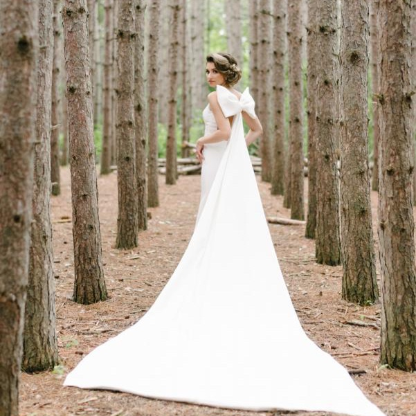 Real bride Monica in her Ines Di Santo Promise wedding gown.