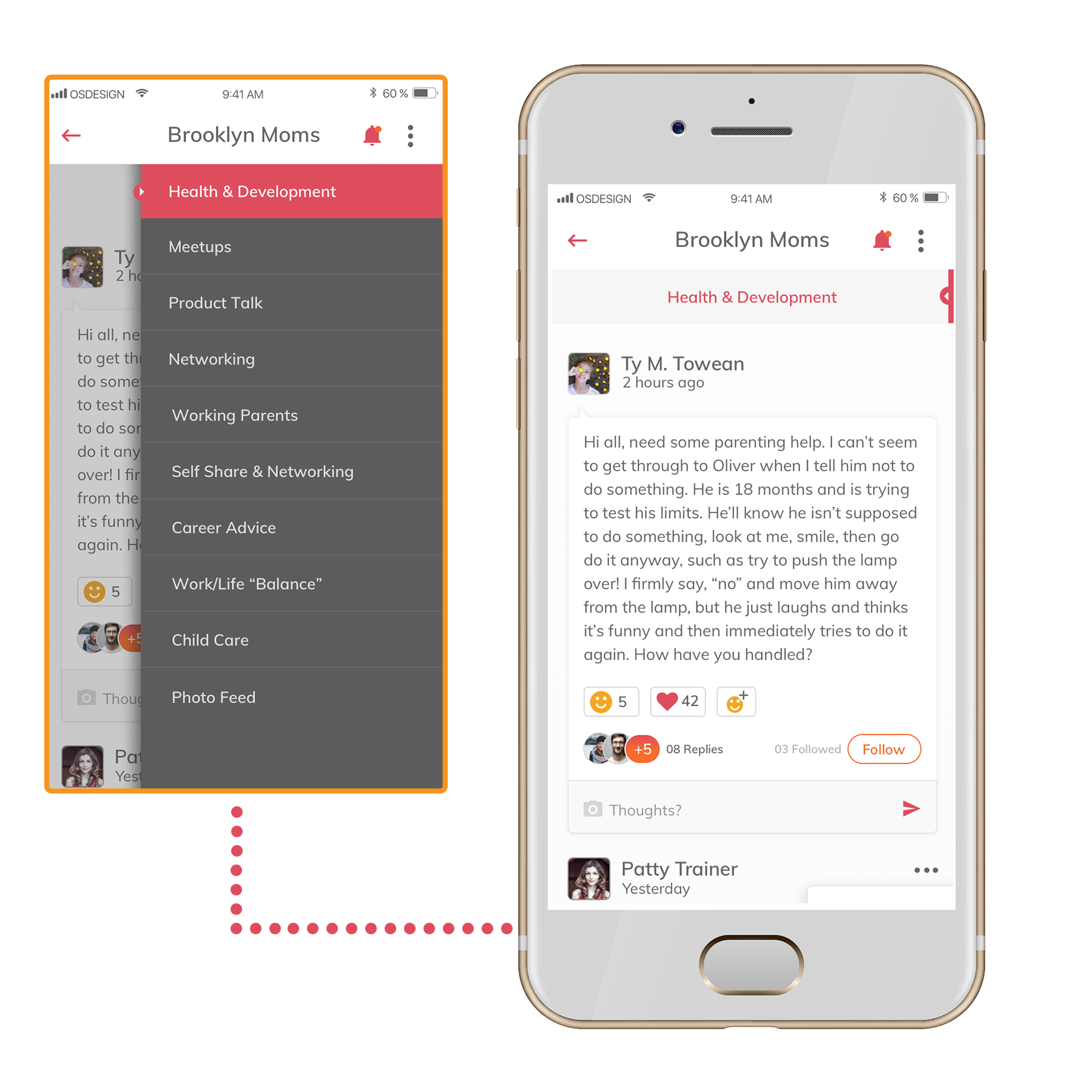Screenshots of the topics and conversations view of the ellie app.