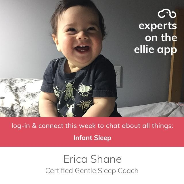 "Is your baby consisting sleeping through the night? 😴 If the answer is no we suggest you download the ellie app because this week, we have Erica Shane on our ""Experts on ellie"" series answering your questions on the ellie app on all things SLEEP! Erica is a certified gentle sleep coach and has studied and apprenticed with childbirth experts and leaders all over the world for the last 18 years. Visit our blog for Everything You Need to Know About Sleep: Ages 0-5 Months (link in bio).⁣ ⁣ Download the app (link in bio), go to the ""experts on ellie"" topic in the ellie group (you'll automatically be added to the group when downloading the app) and ask Erica your questions today through Friday, May 17th.⁣ @erica.shane.childbirth .⁣ .⁣ .⁣ .⁣ ⁣ #elliemoms #babysleep #babysleeping #sleepbaby #newparents #sleepybaby #newborn #newbornlife #momlife #nosleepformom #tiredmom #tiredmama #tiredparents #sleepregression #babyleap #leap4 #leapfour #honestmotherhood #realmotherhood #motherhoodrising #sleepconsultant #sleepymama #naptime #motherhoodthroughinstagram"
