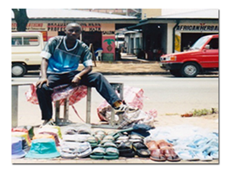 Selling goods on the street in Pretoria, South Africa