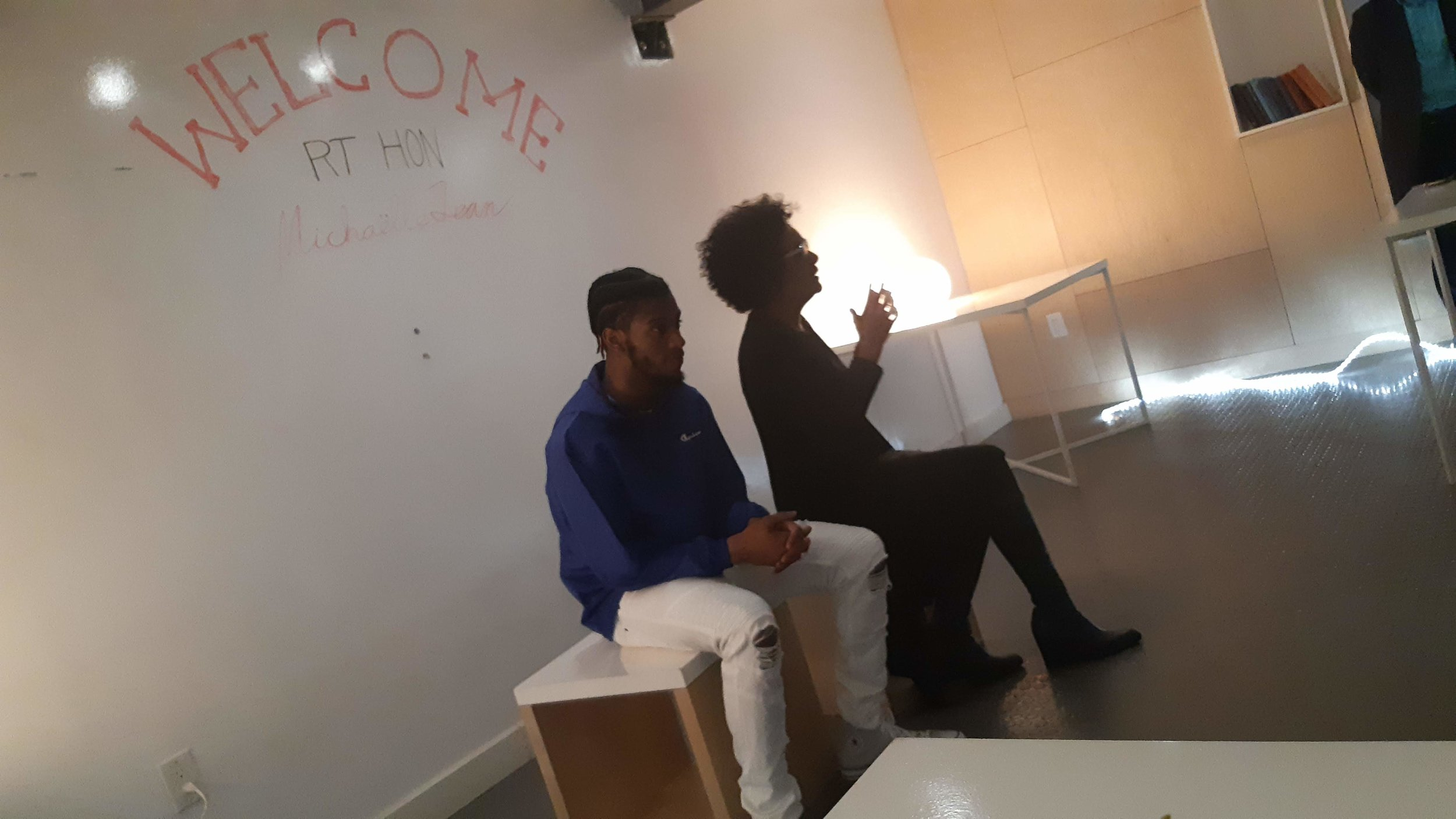 MAJE, HUBHFX facilitator & hip hop artist, helped welcome Mme Jean and host the conversation