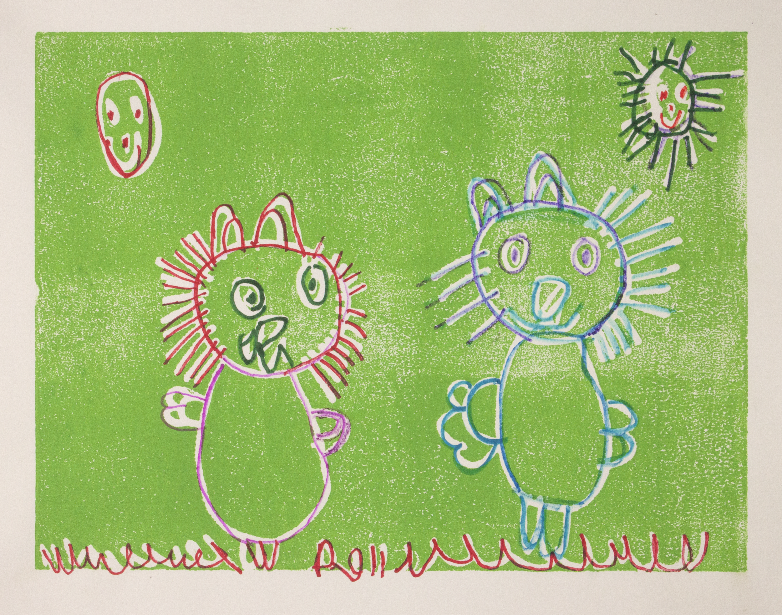 """Cats On The Lawn.  Relief print and marker on paper. 20"""" x 16""""."""