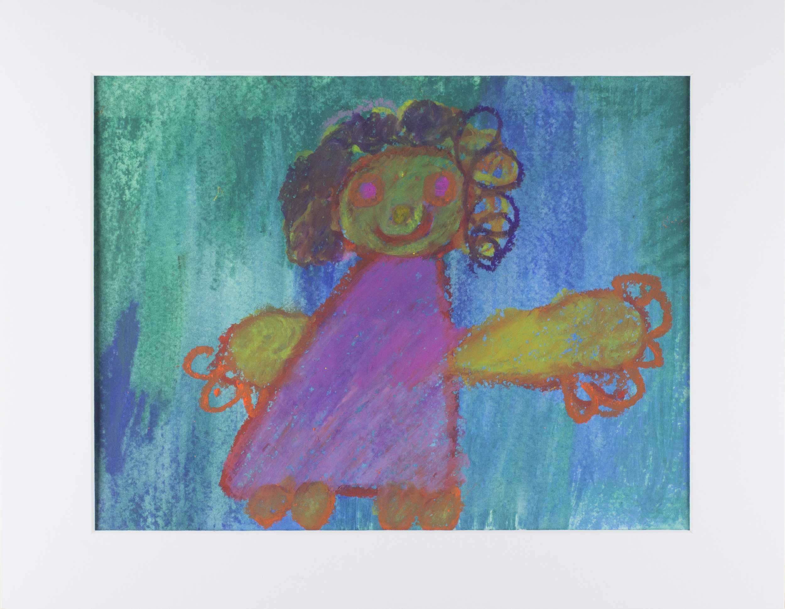 """Mom . Oil pastel and watercolor pastel. 14"""" x 11"""" matted."""