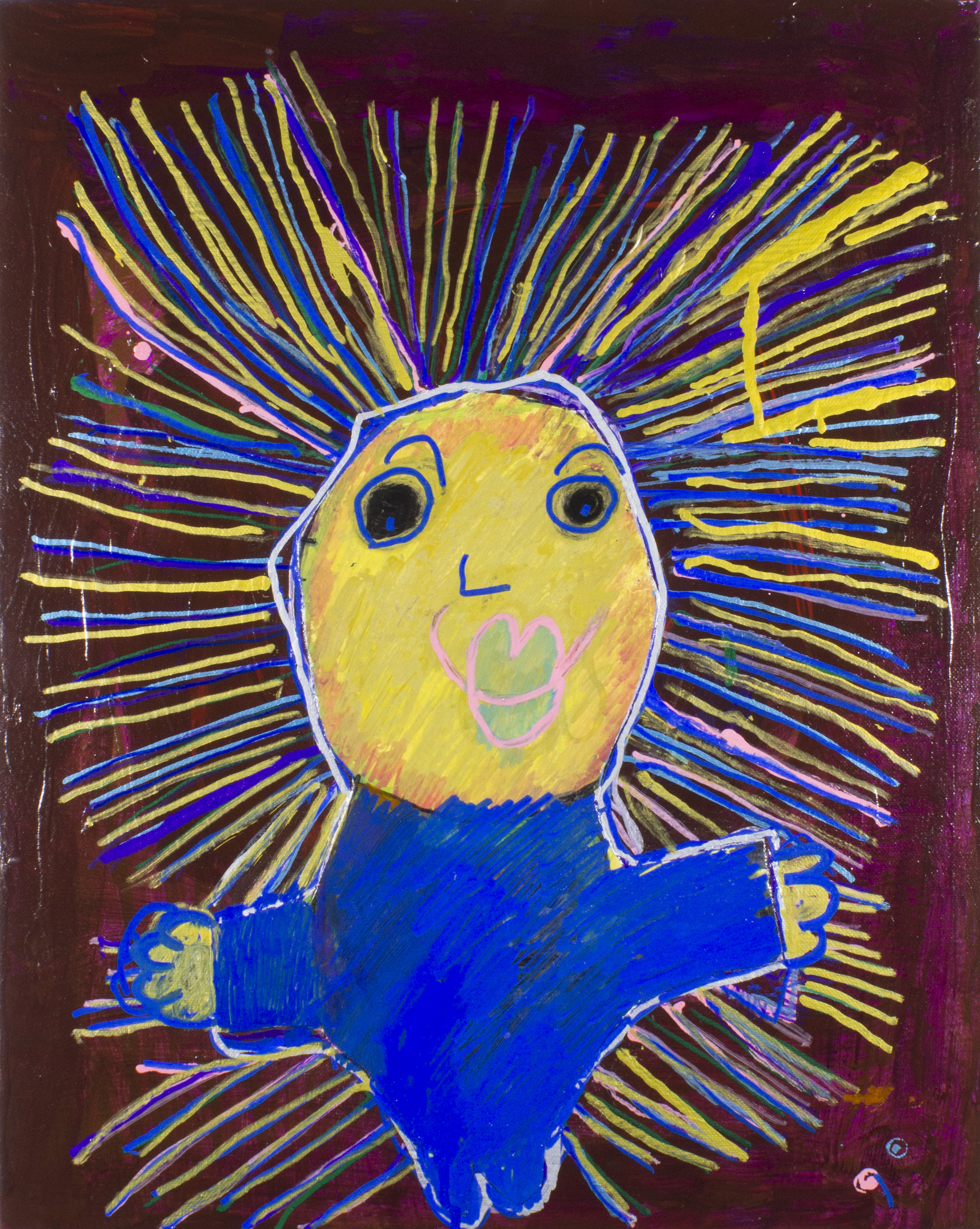 """My Favorite Dad . Acrylic and paint marker on canvas board. 16"""" x 20"""". Sold."""