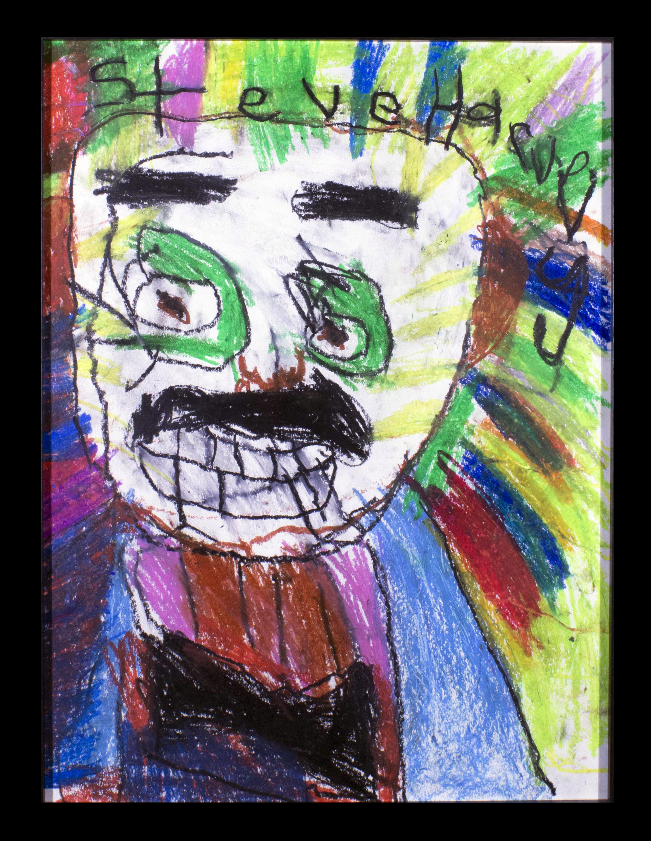 "The Great Steve Harvey . Oil pastel on cold press watercolor paper. 18"" x 24"" framed."