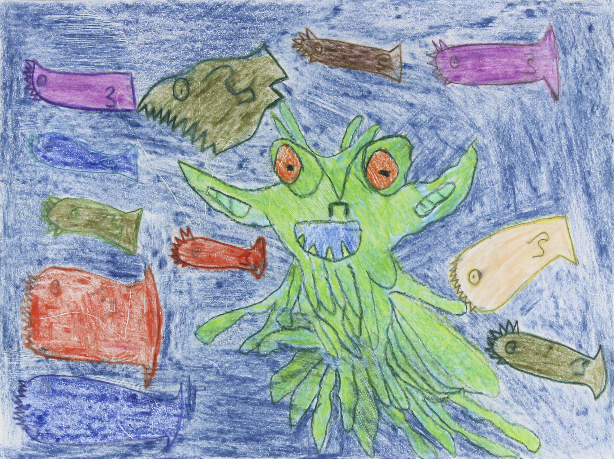 Foster_Barb_A Creature And Some Fishes Inside The Water_Colored Pencil on paper_14%22x11%22.png