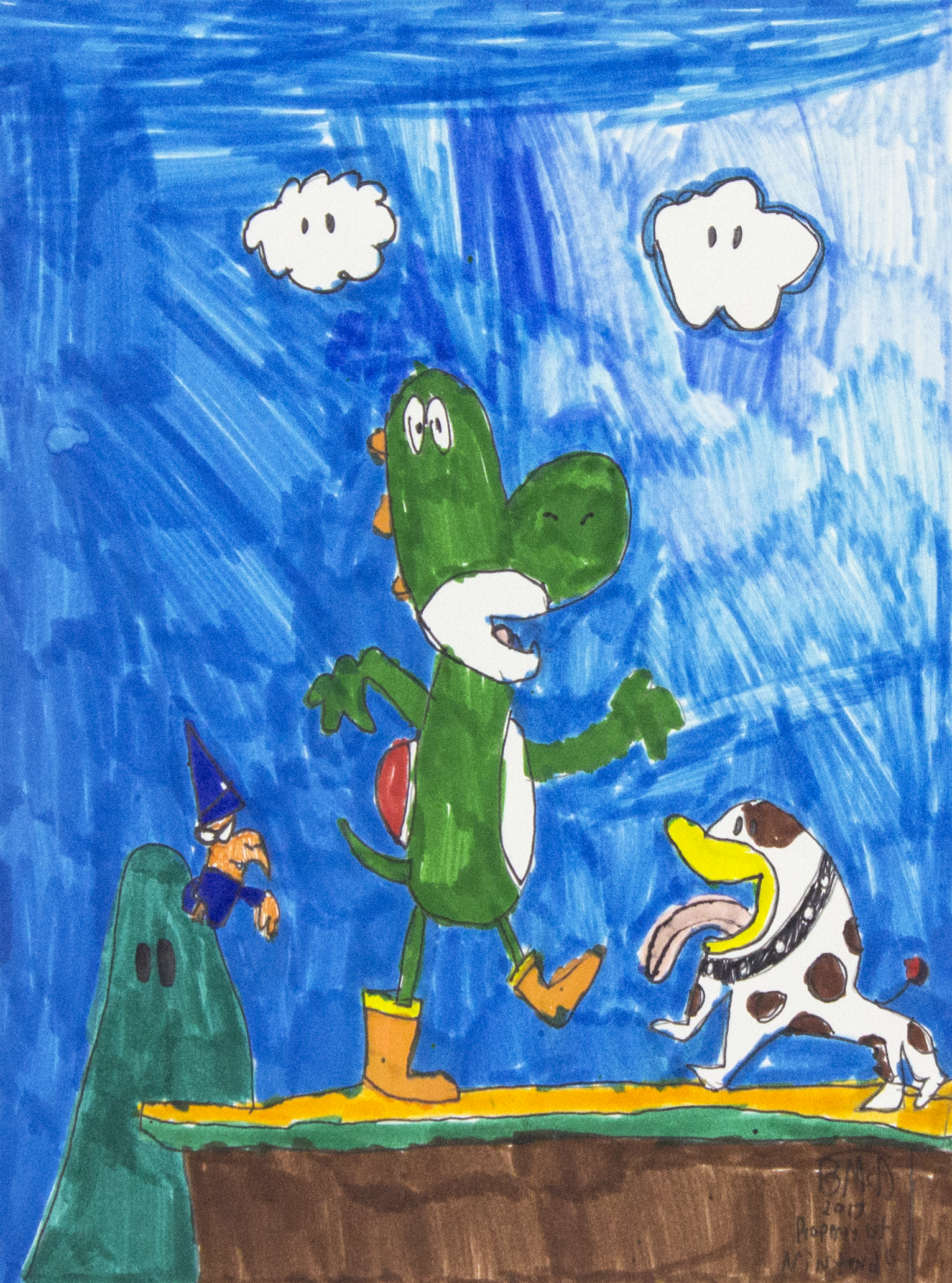 "Yoshi's Adventure . Marker and ink on paper. 11"" x 14"" matted."